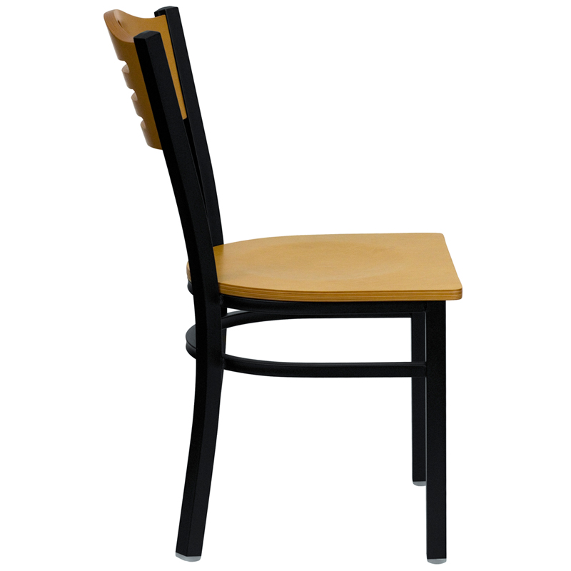 natural wood seat and back restaurant chair side view