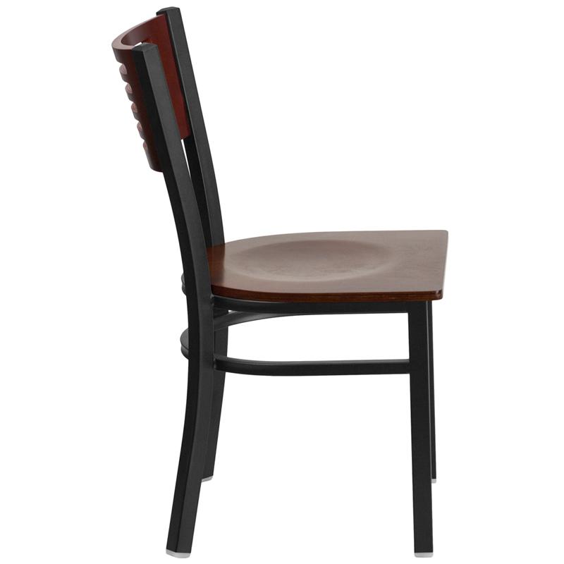 mahogany restaurant chair side view
