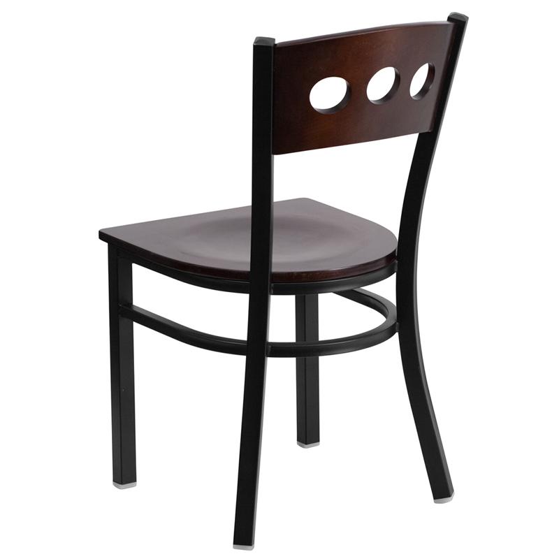 walnut restaurant chair back