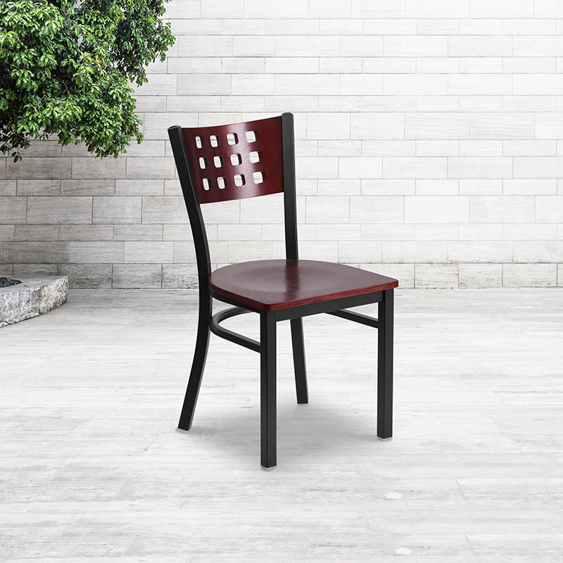 contemporary mahogany restaurant chair in open space