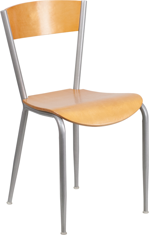flash furniture invincible series natural wood restaurant chair with silver metal frame