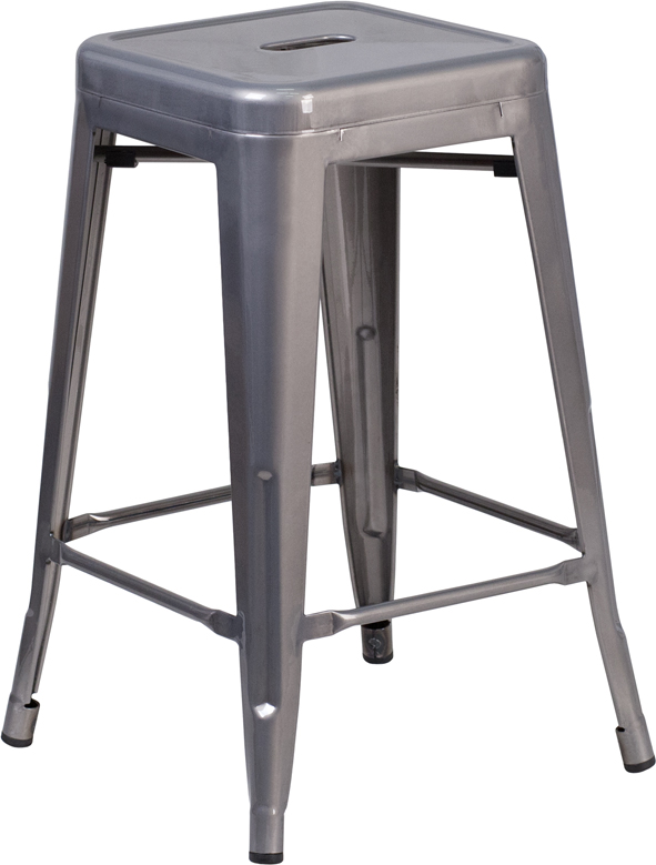clear coated metal counter stool