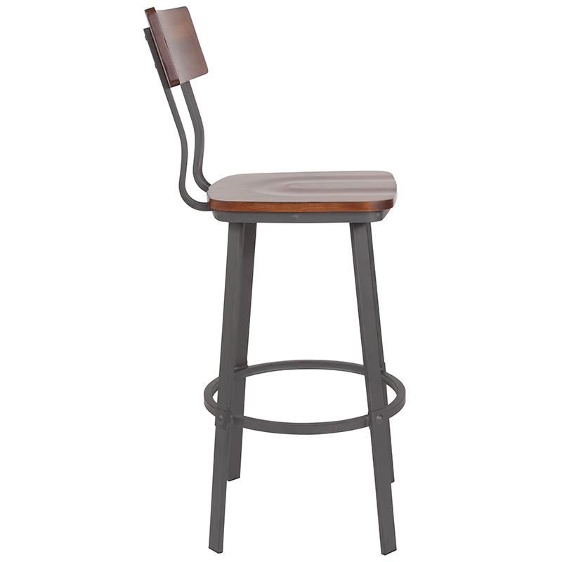 flint rustic walnut bar stool side view