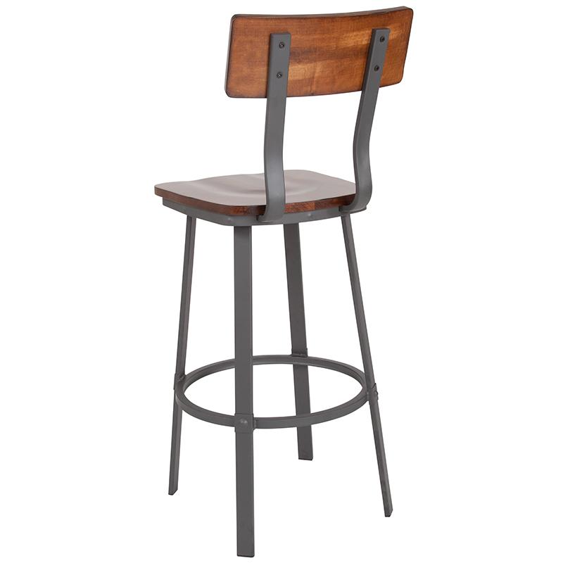 flint rustic walnut bar stool back view