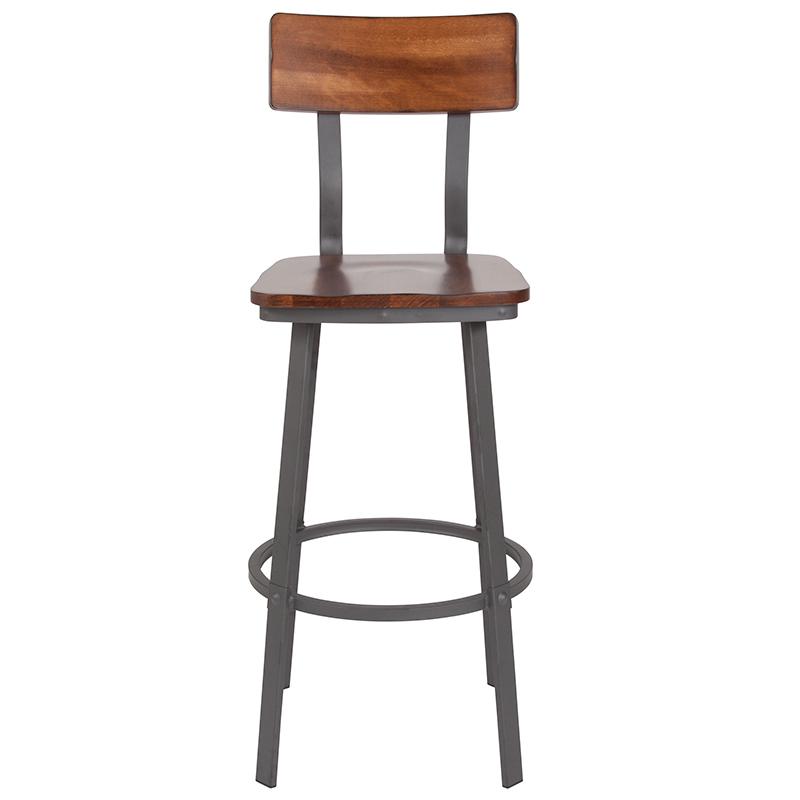 flint rustic walnut bar stool