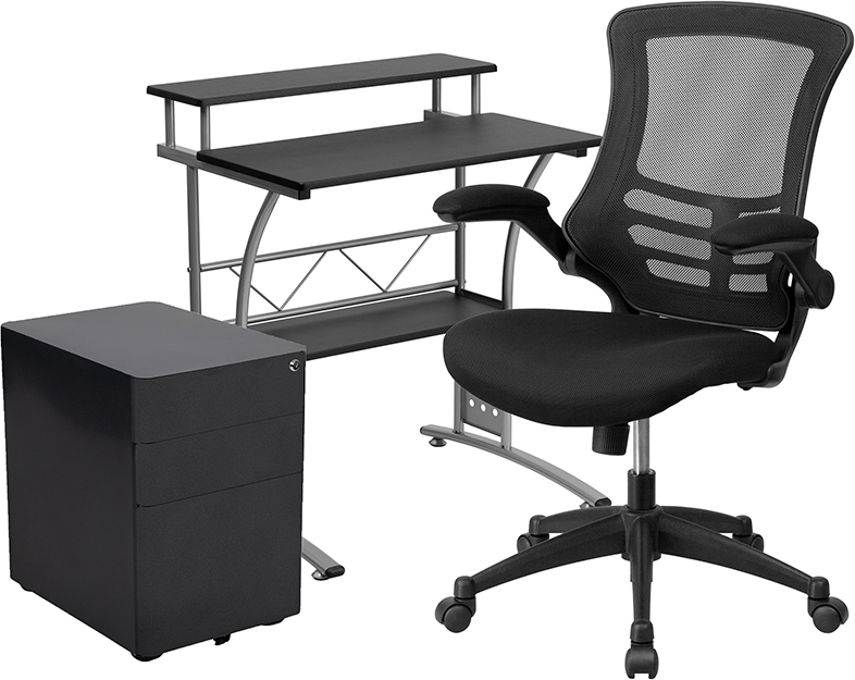 small desk with chair and file cabinet
