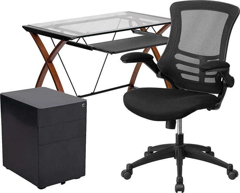 complete glass computer furniture set