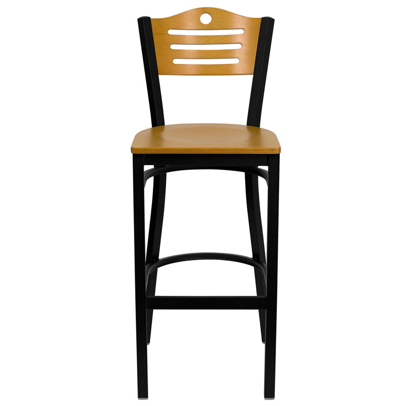 natural wood bar stool with metal frame