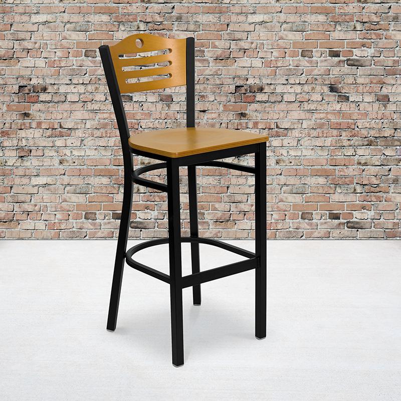 natural bar stool with black metal frame