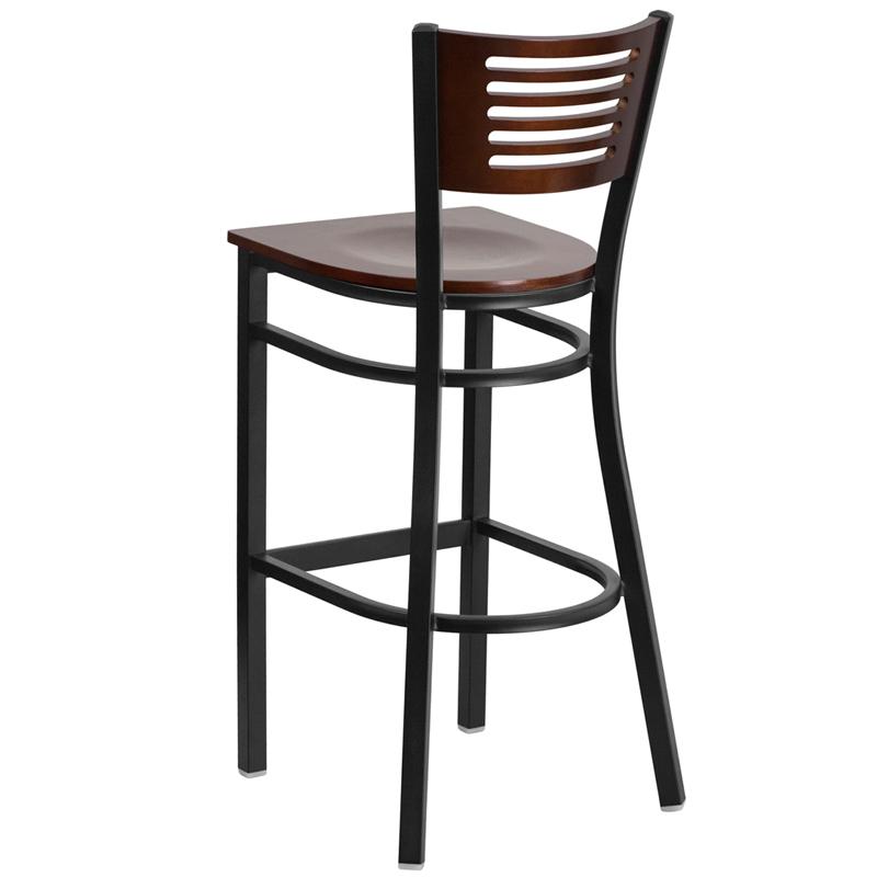 walnut bar stool with black frame back view