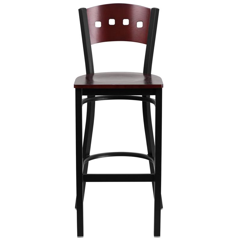 mahogany square back bar stool front view