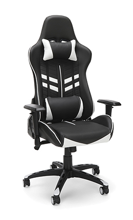 black and white racing style gaming chair
