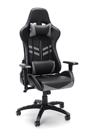 black and gray racing style gaming chair