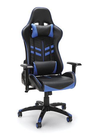 black and blue racing style gaming chair