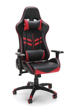 black and red racing style gaming chair