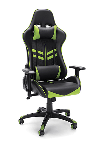 black and green racing style gaming chair