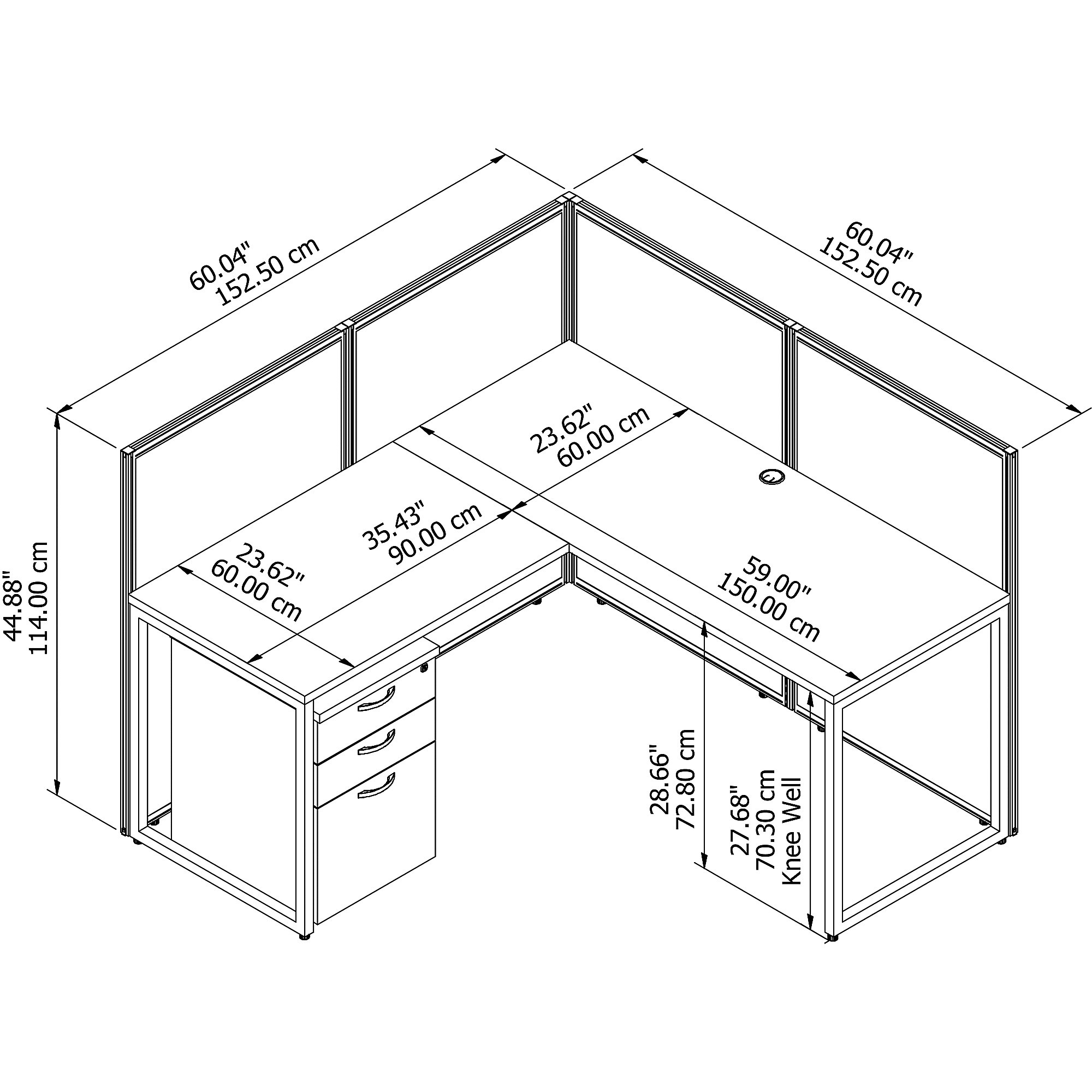 Bush Business Furniture Easy Office L Shaped Cubicle Desk With File Cabinet And 45h Panels