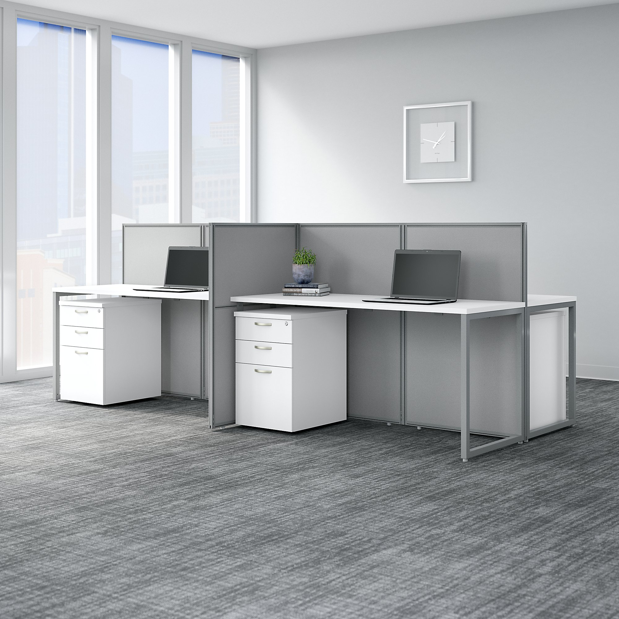 bush business furniture easy office 4 person workstation