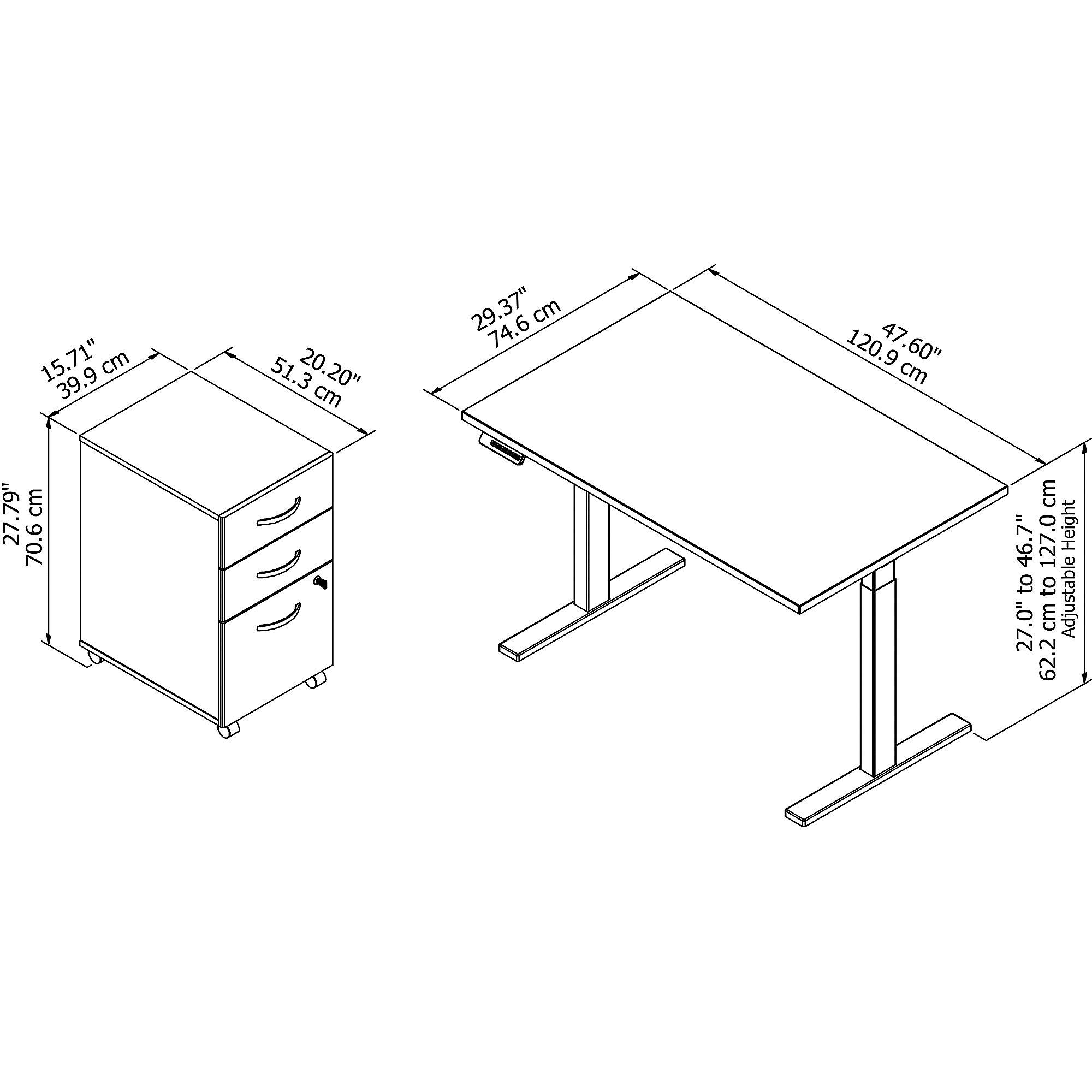 ergonomic desk and file cabinet dimensions