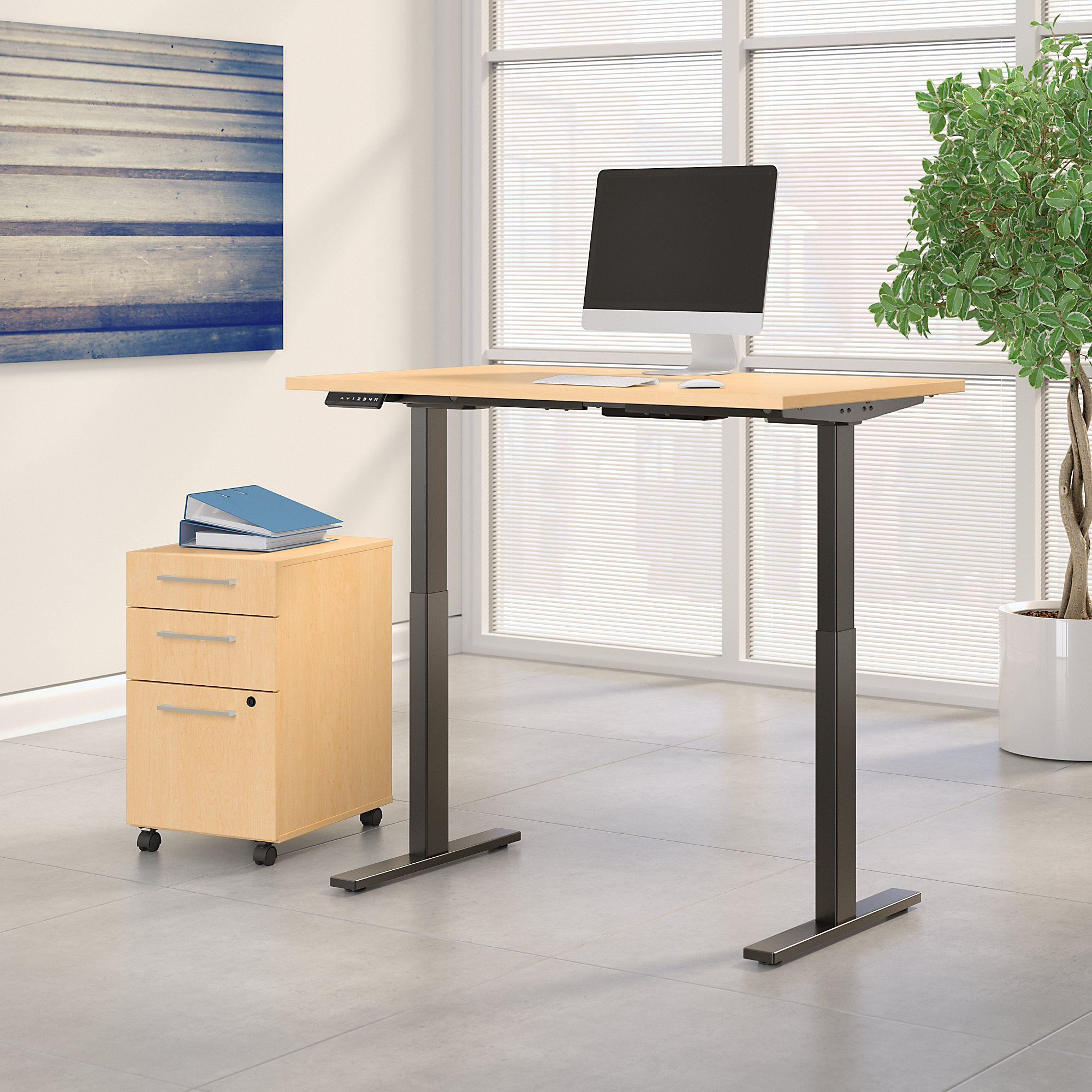 natural maple adjustable desk with file