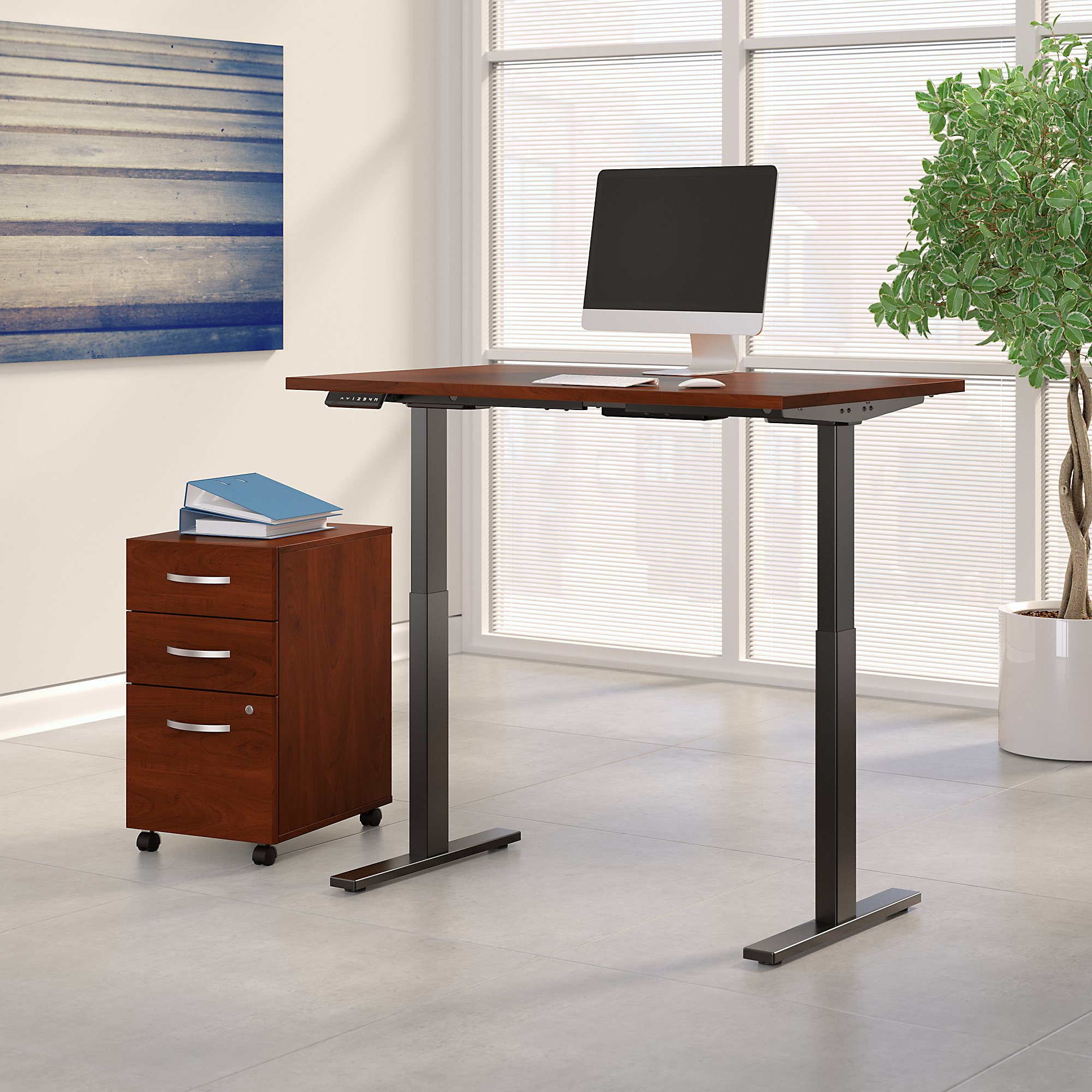 hansen cherry adjustable desk with file