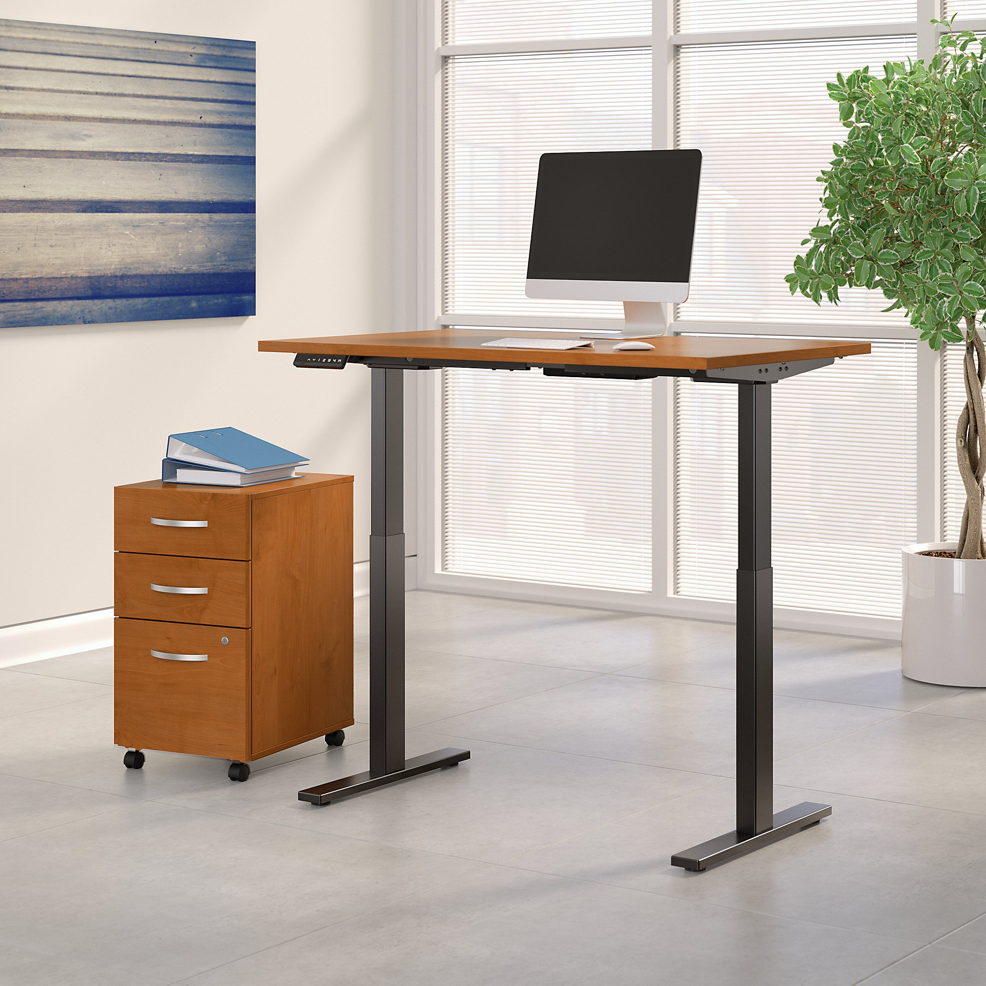 natural cherry adjustable desk with file