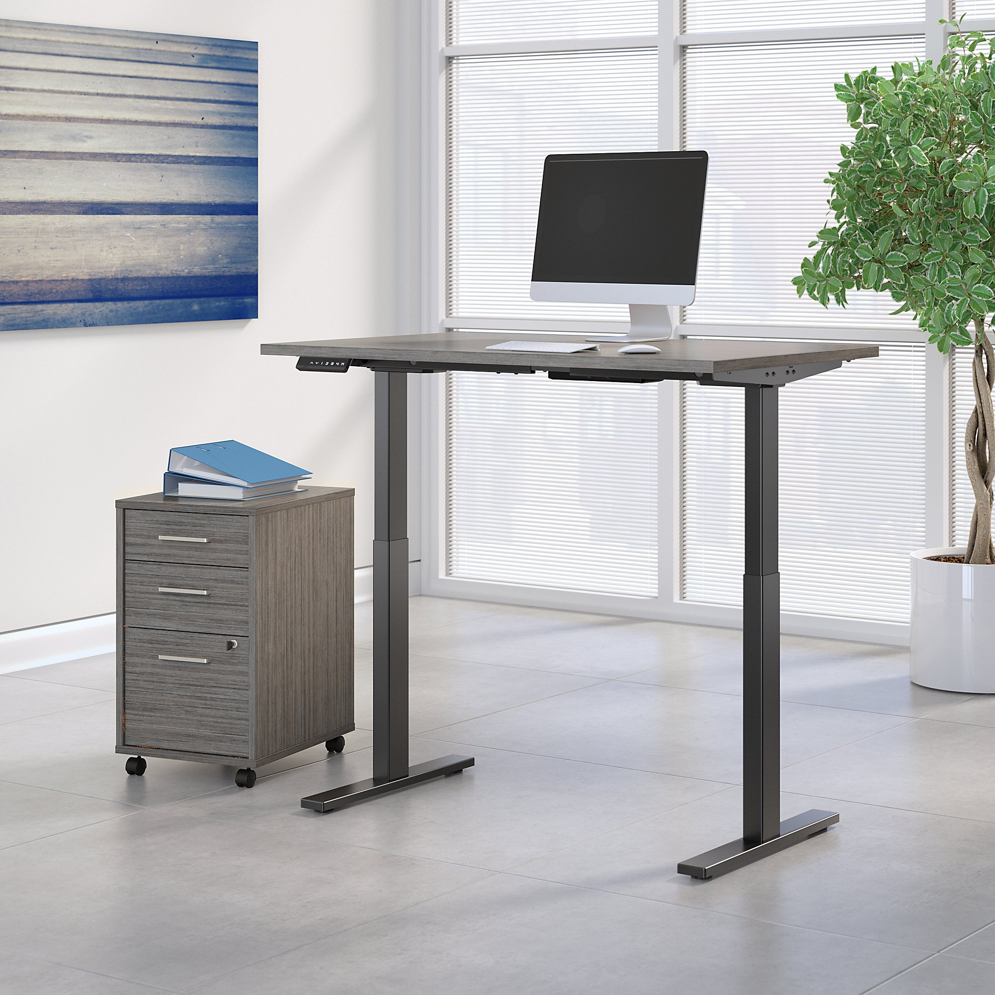 cocoa adjustable desk with file