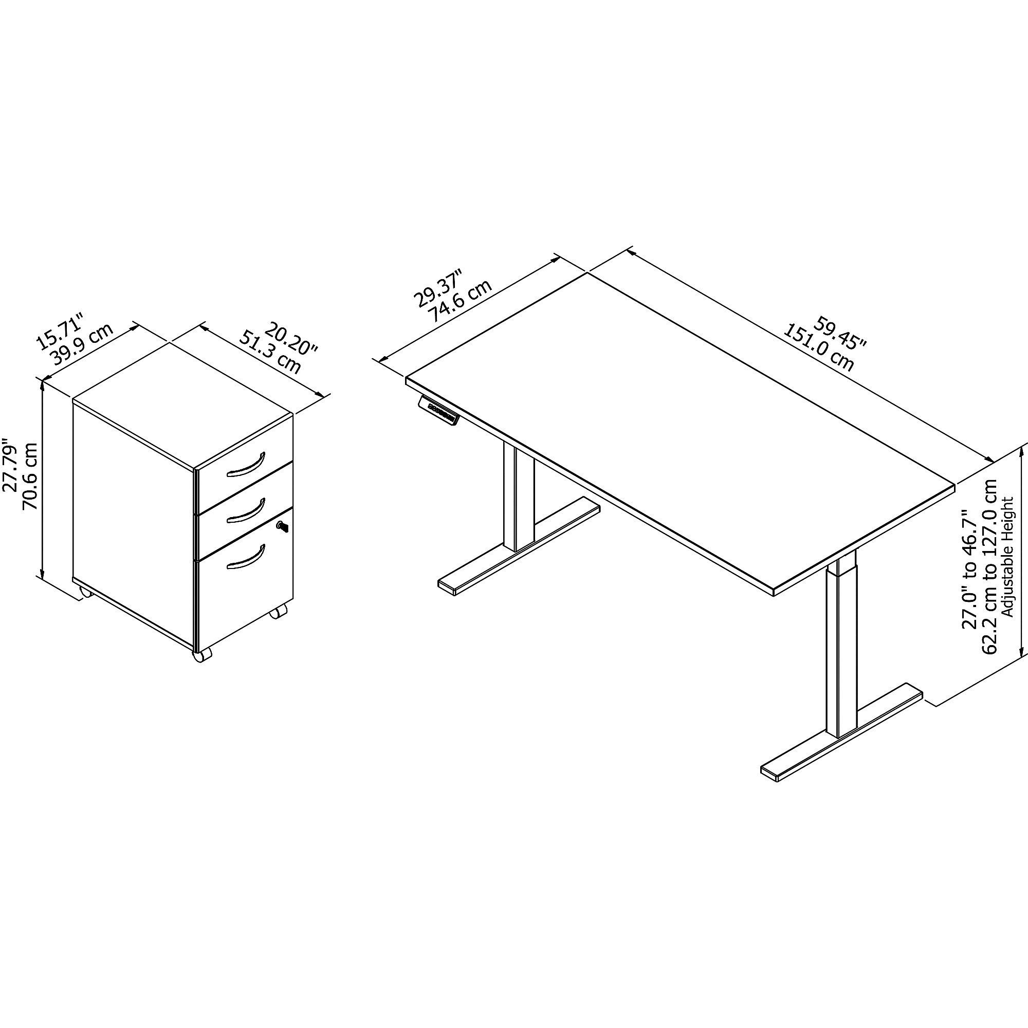 ergonomic desk and file dimensions
