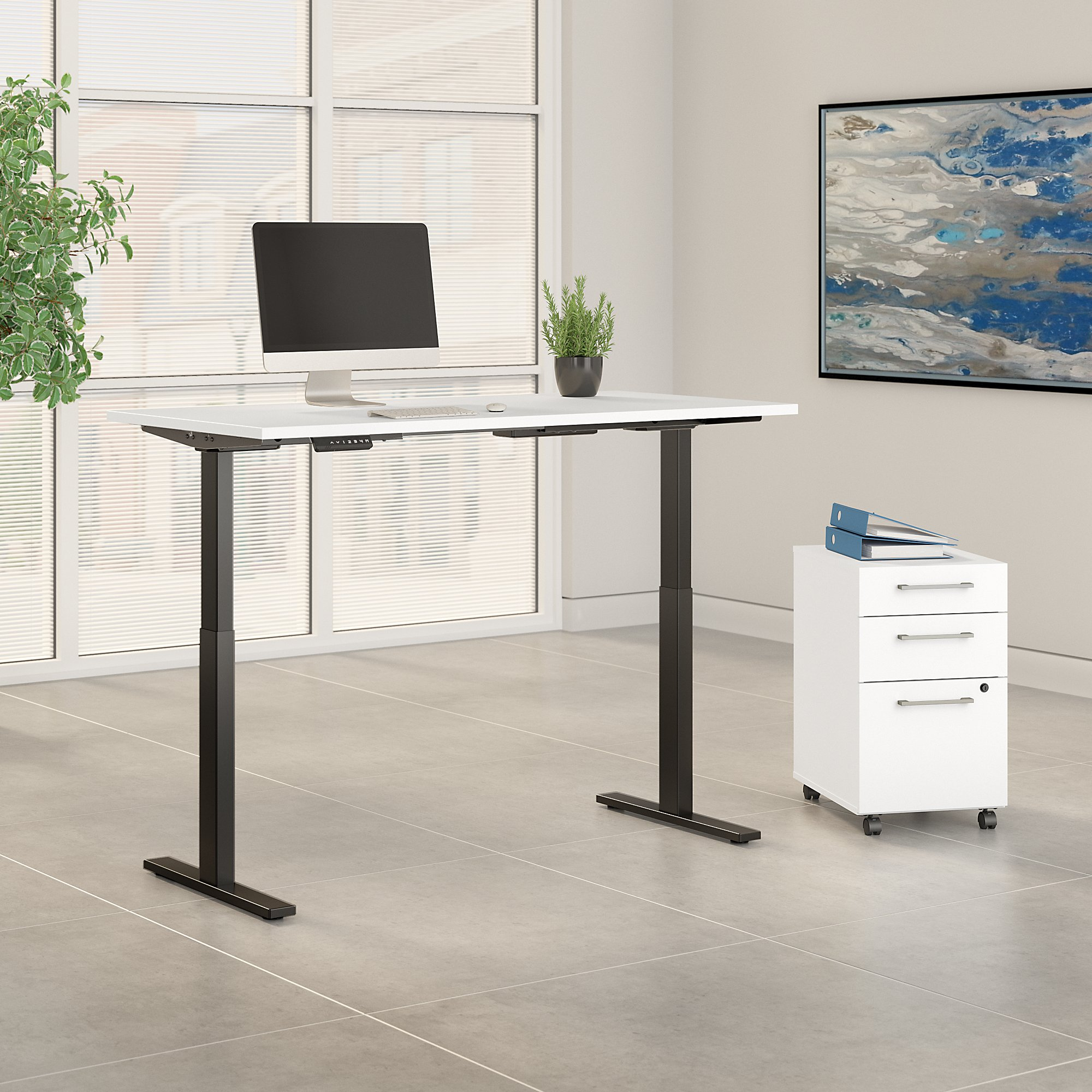white 60x30 adjustable desk with file cabinet