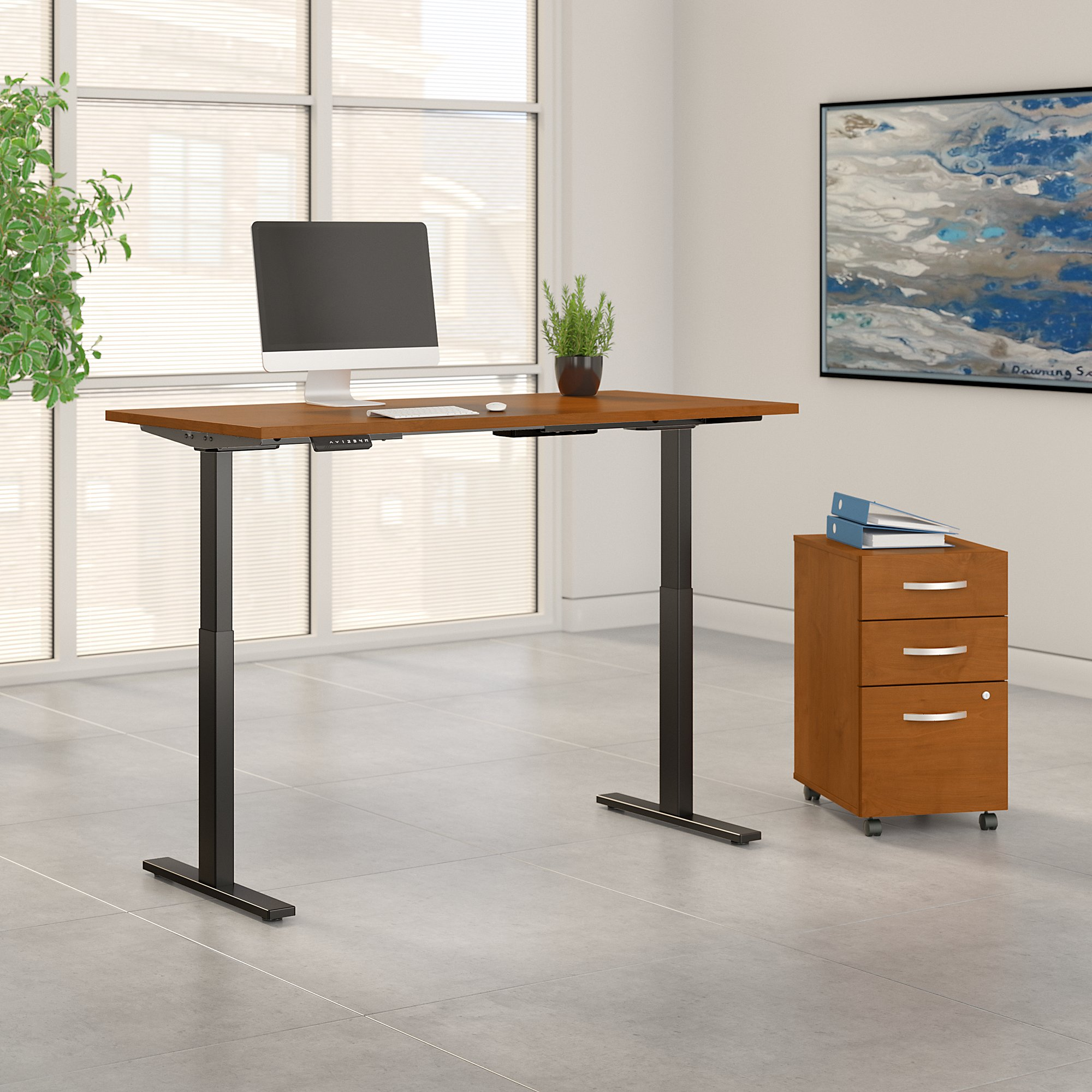 natural cherry 60x30 adjustable desk with file cabinet