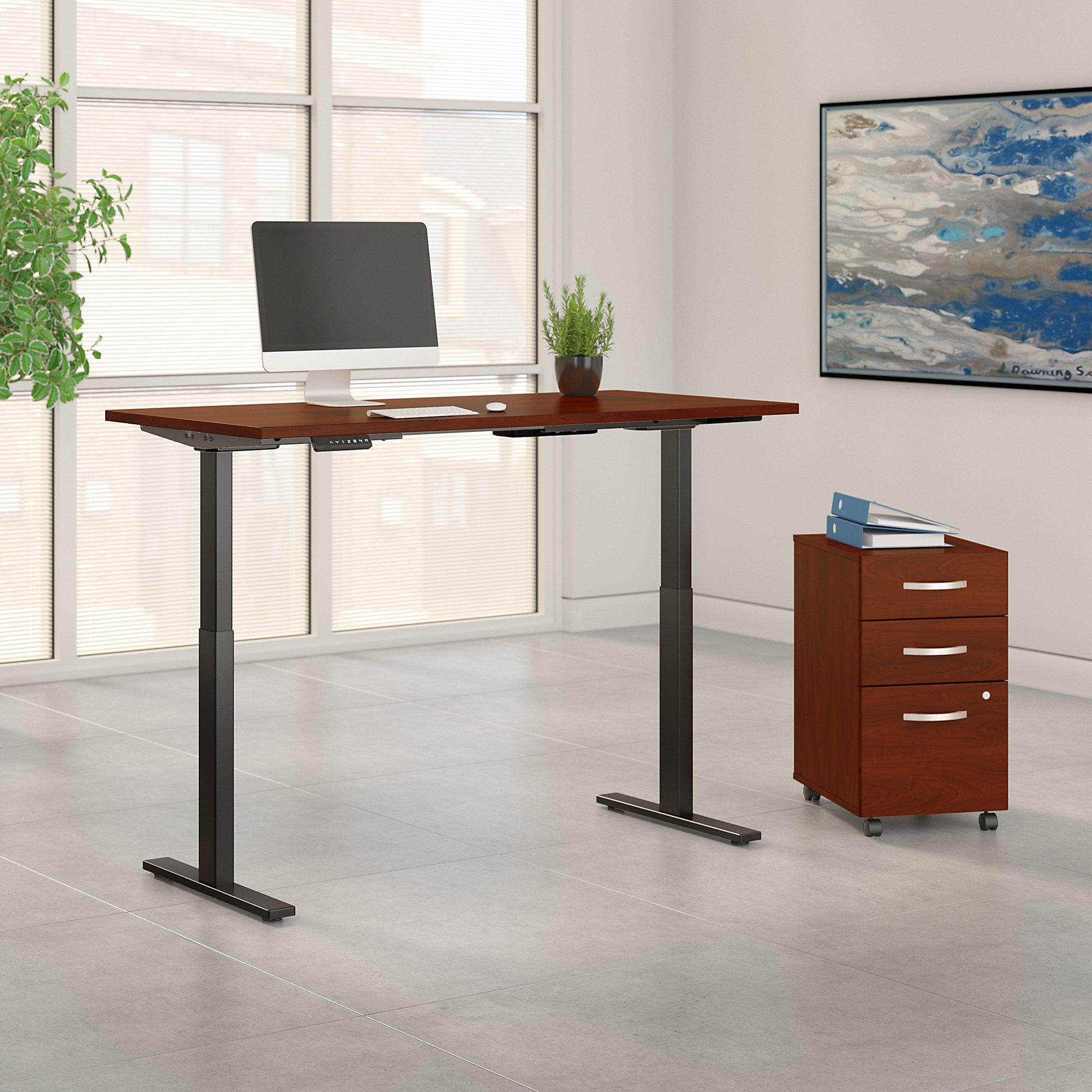 hansen cherry 60x30 adjustable desk with file cabinet