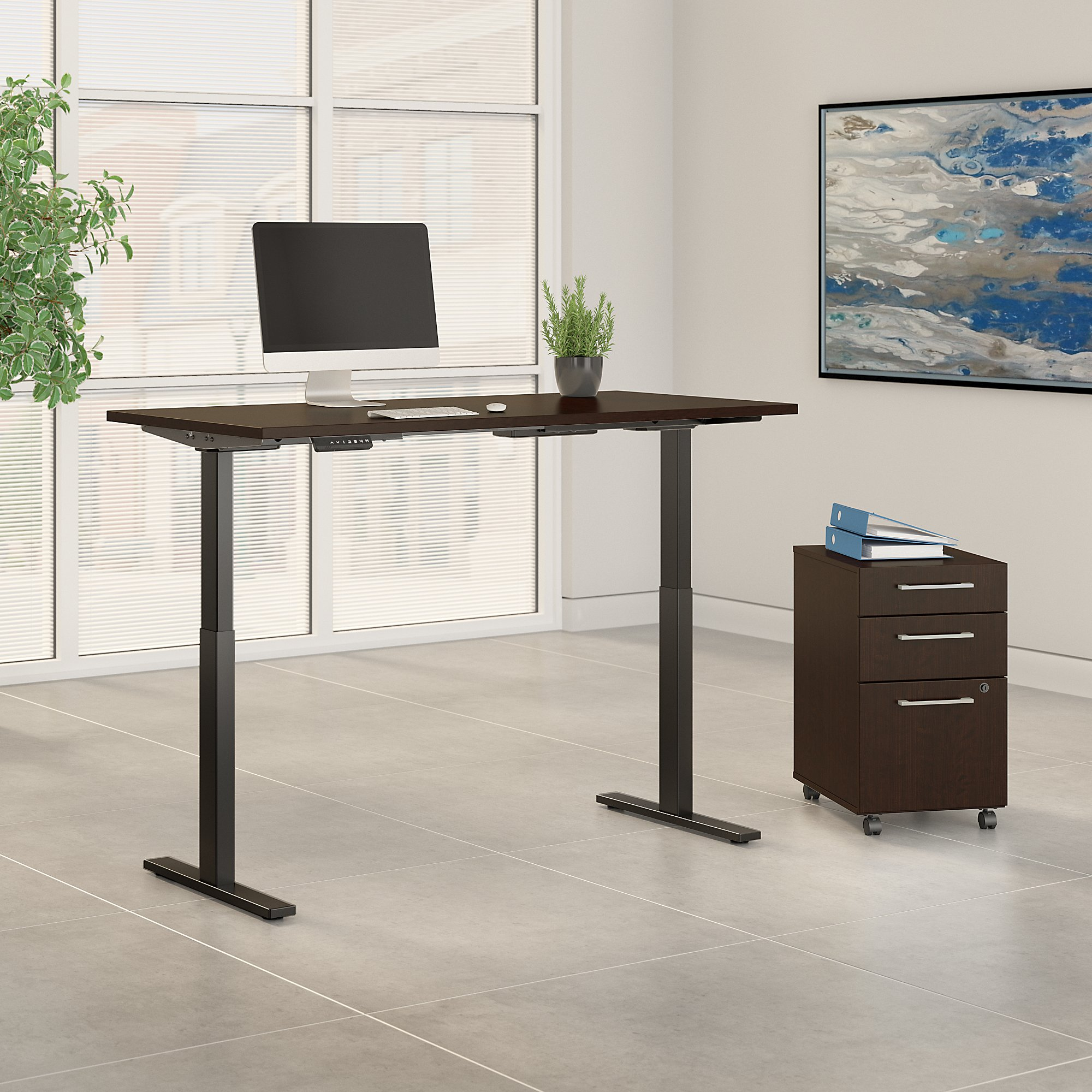 mocha cherry 60x30 adjustable desk with file cabinet
