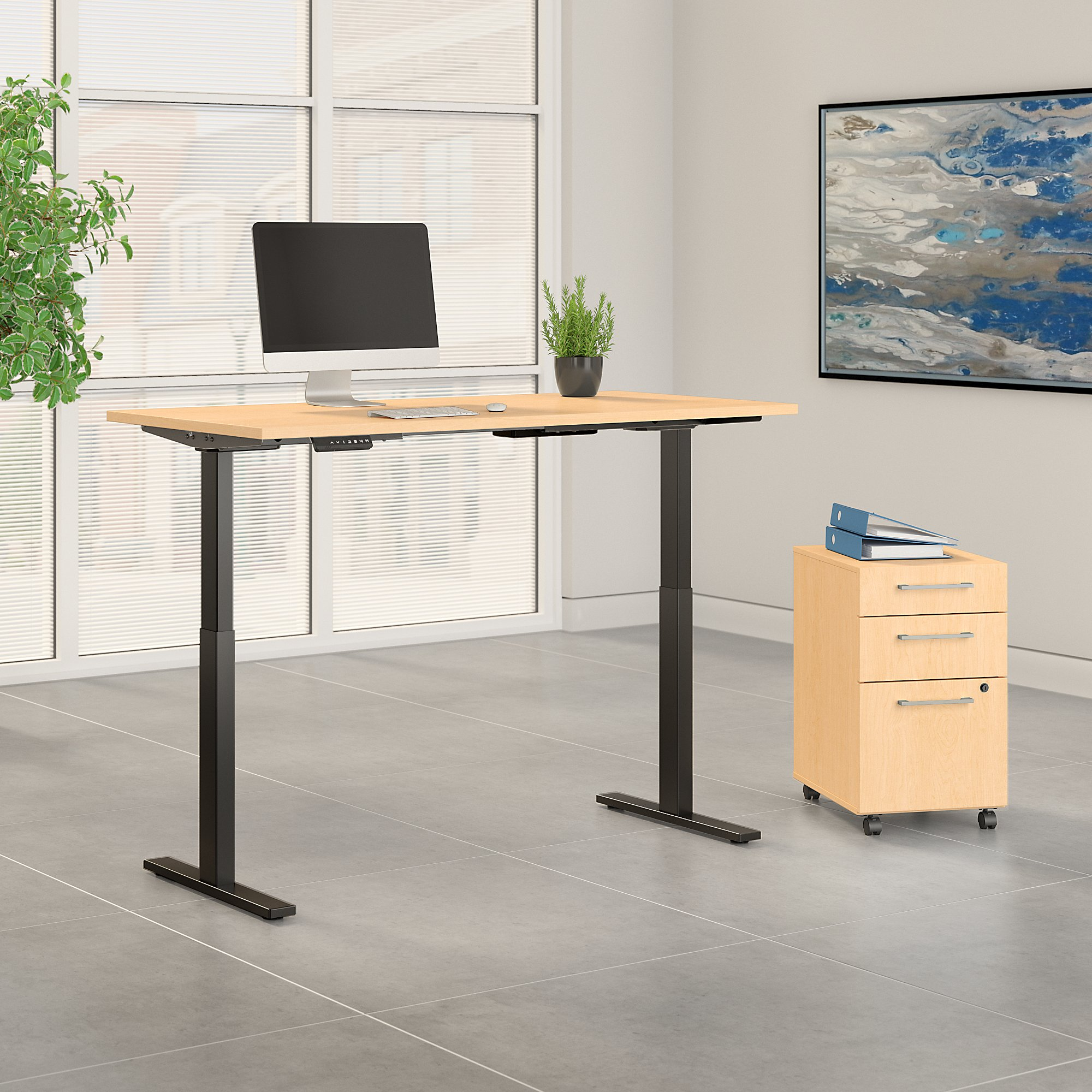 """72"""" x 30"""" move 60 adjustable desk with file in maple"""