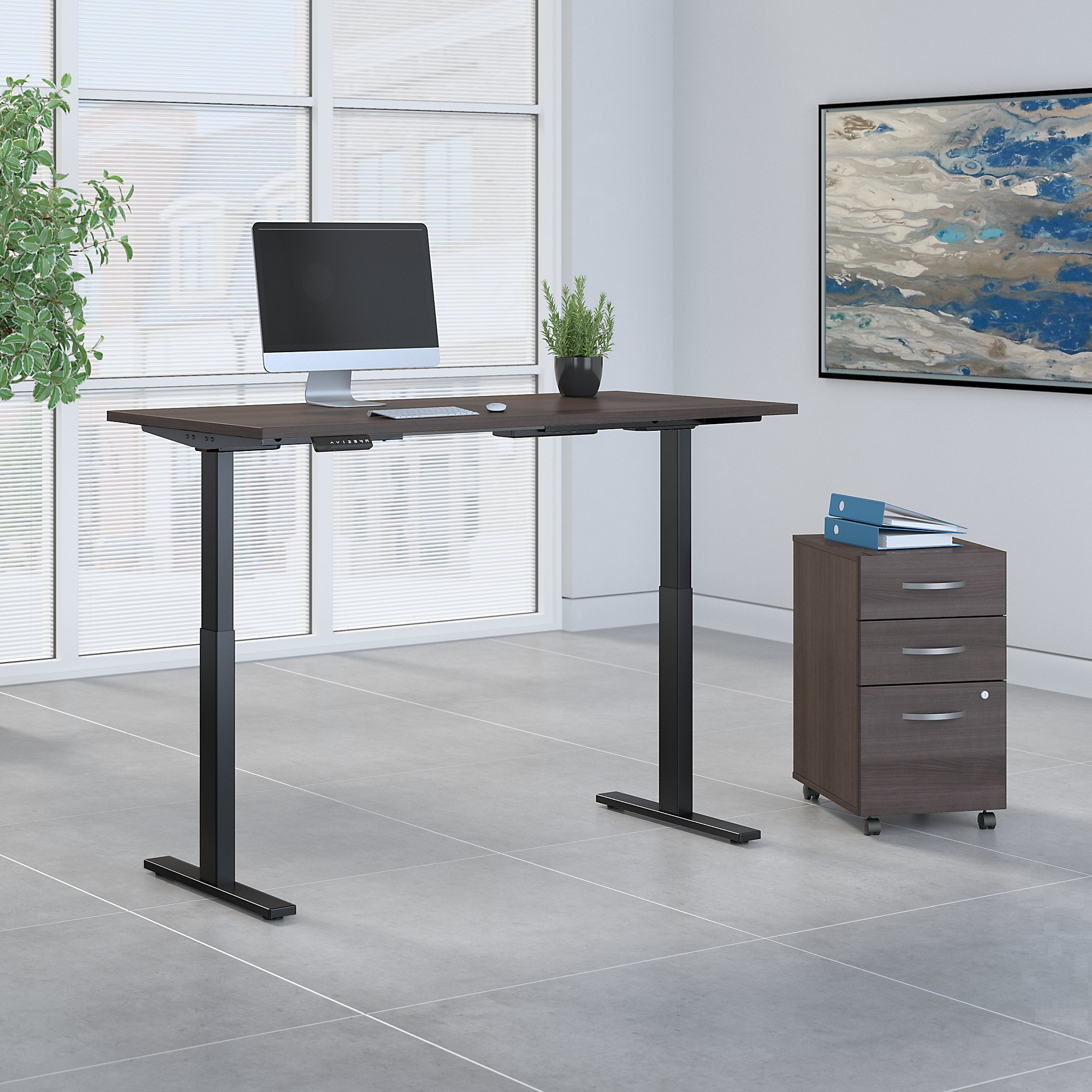 """72"""" x 30"""" move 60 adjustable desk with file in storm gray"""