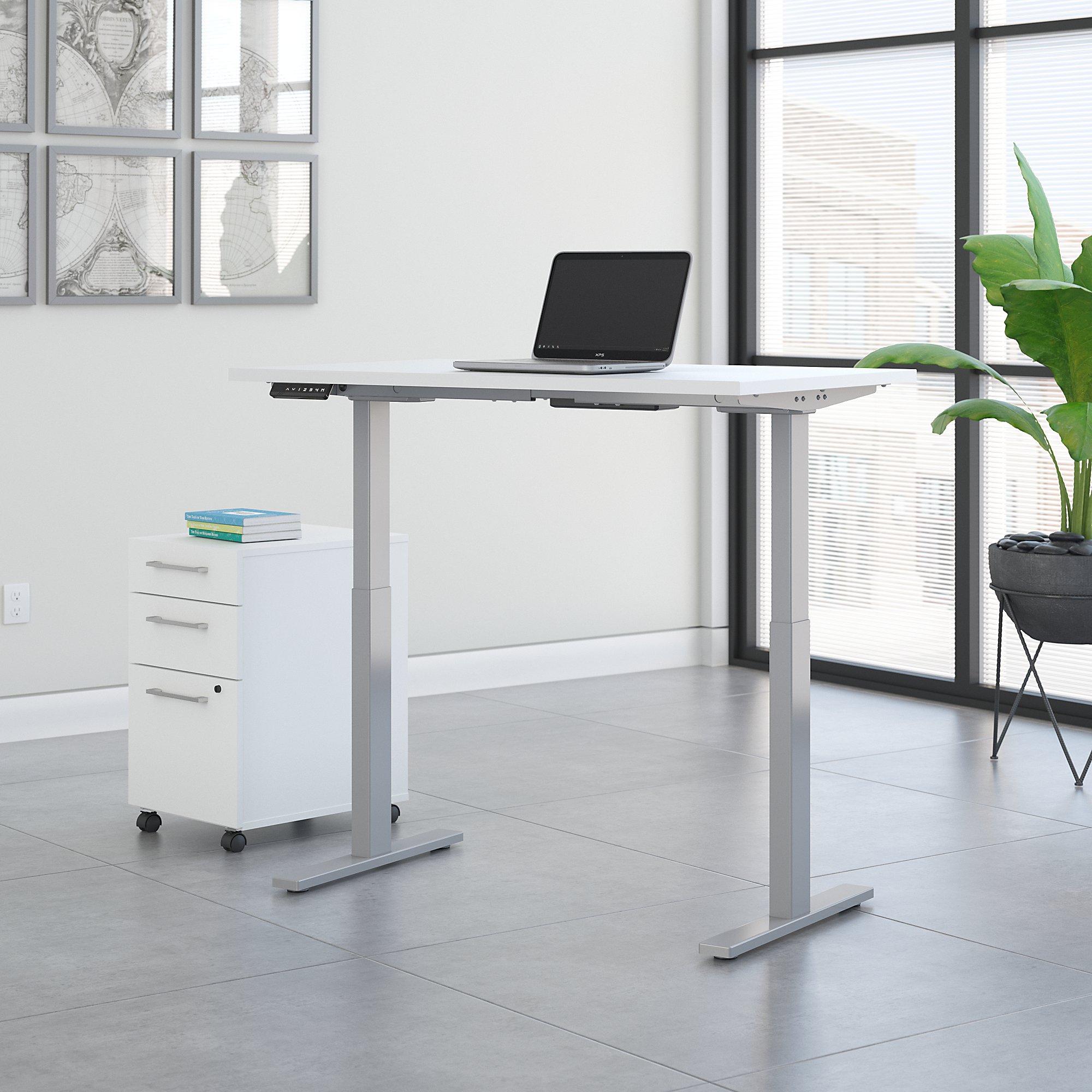 white ergonomic desk with file