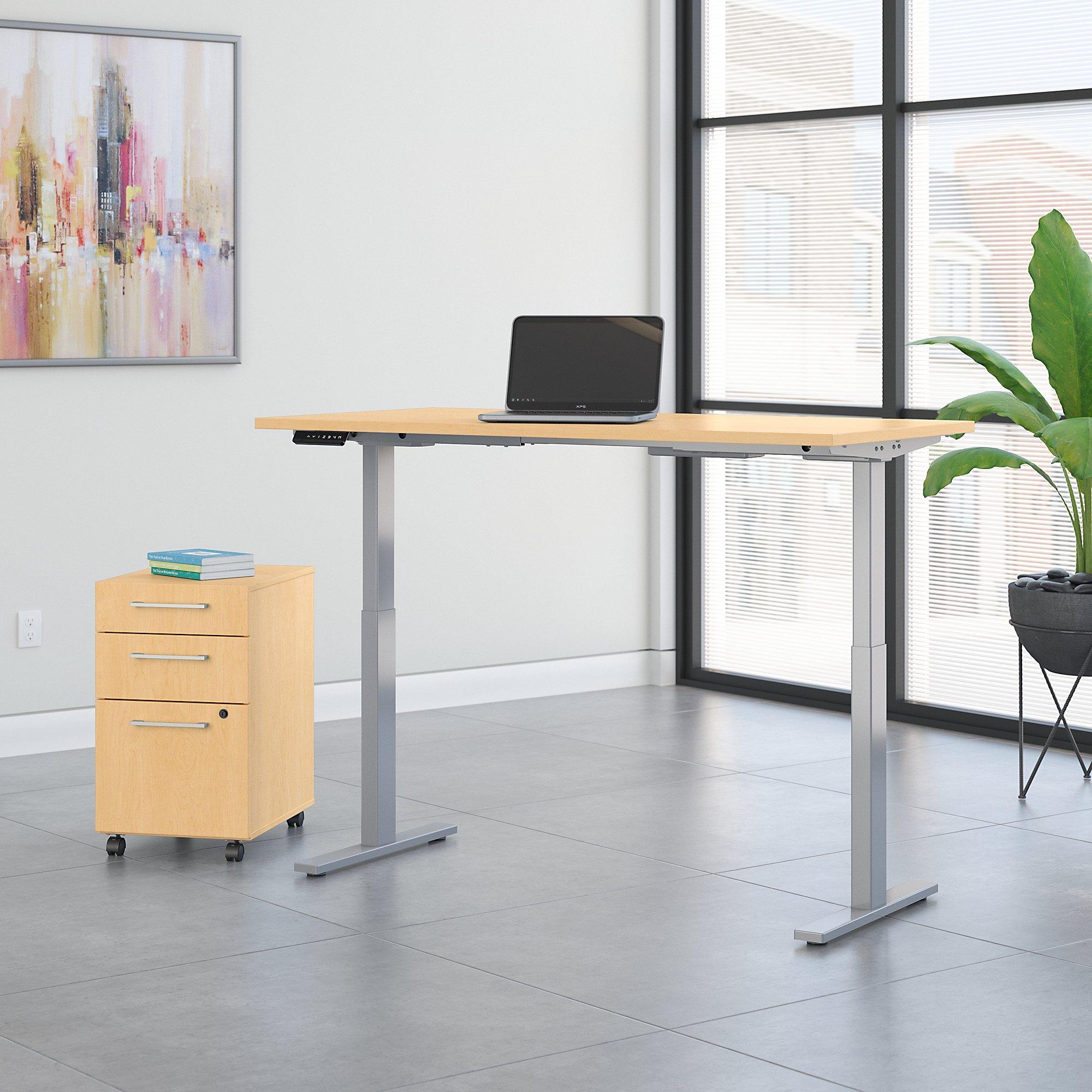 move 60 60x30 maple ergonomic desk with file