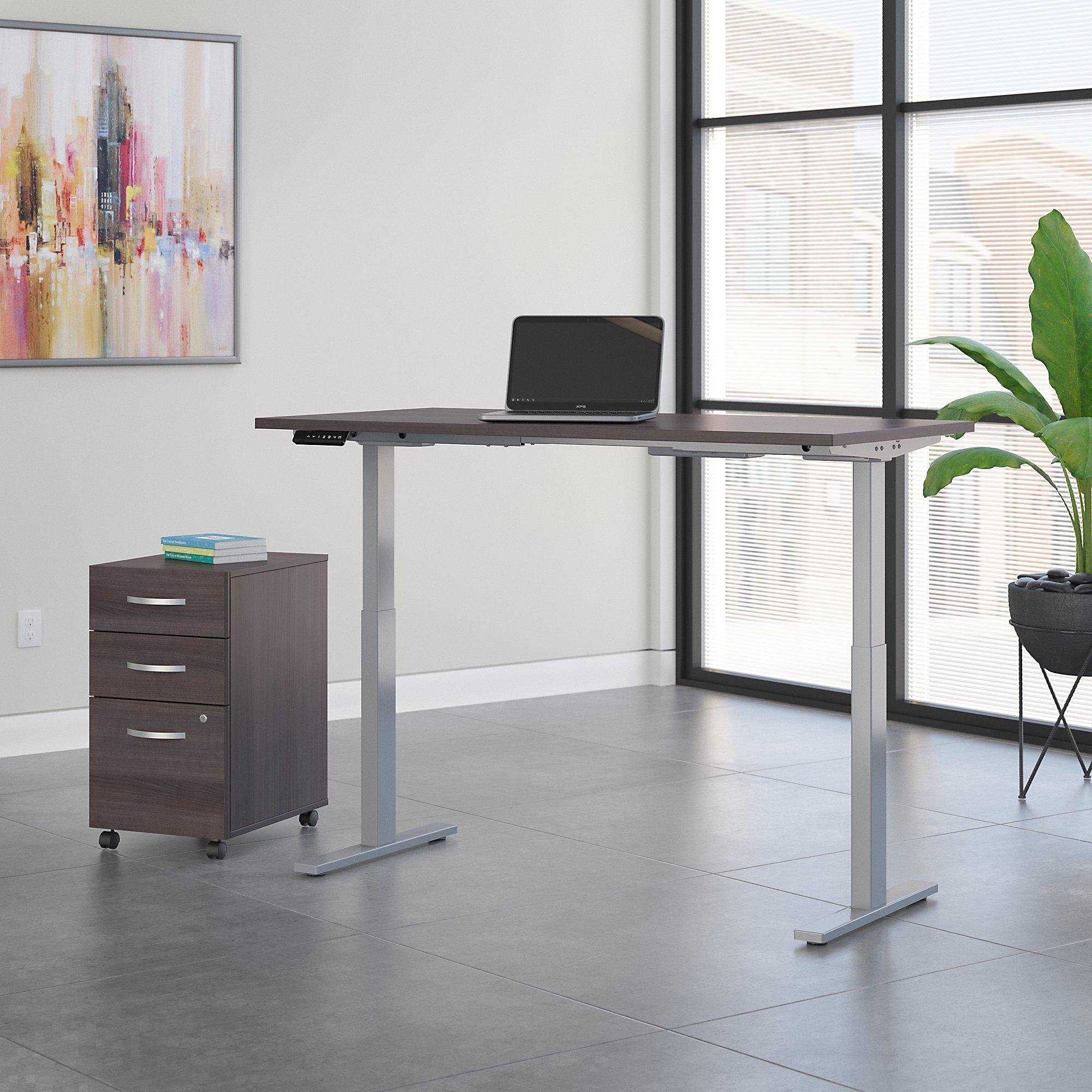 move 60 60x30 storm gray ergonomic desk with file