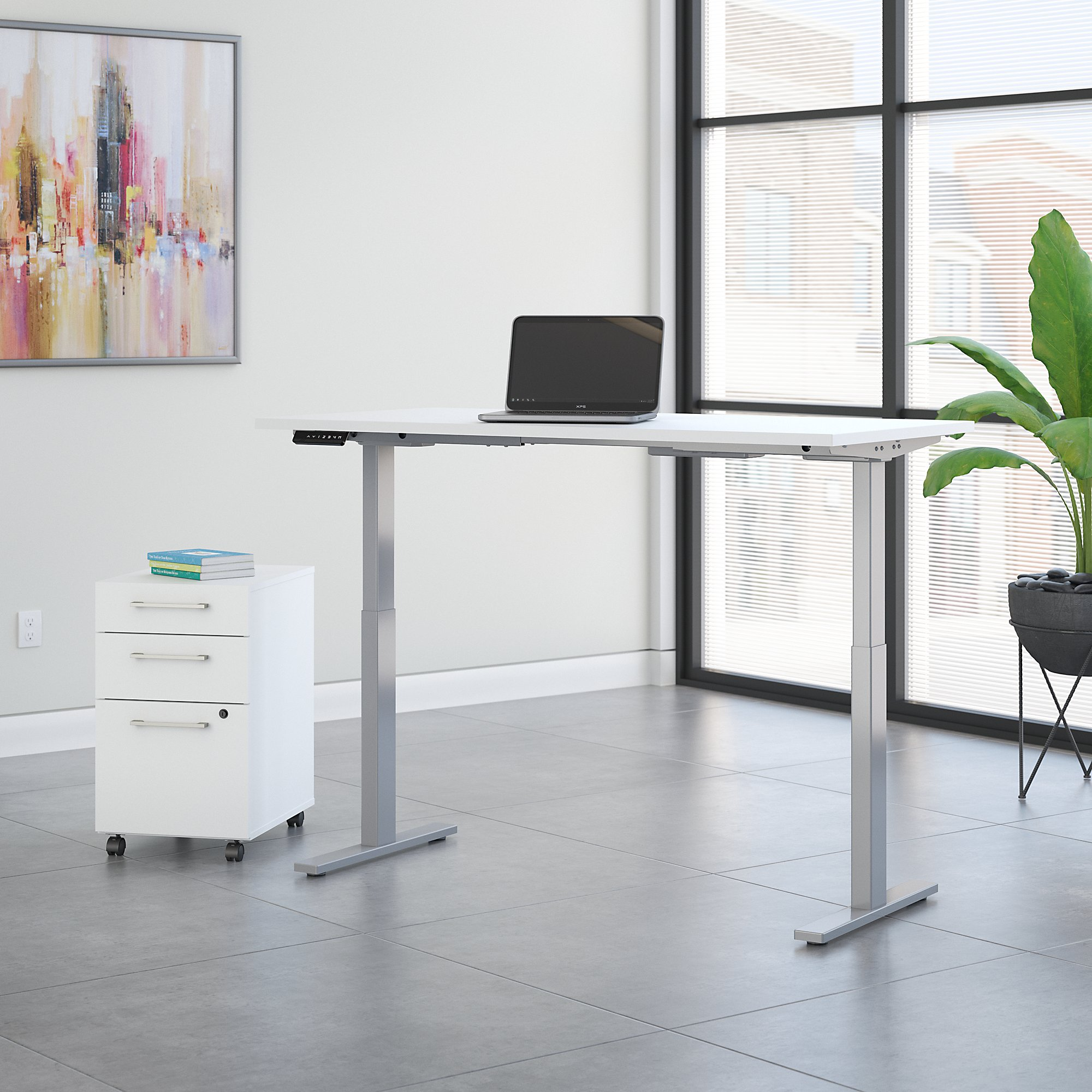 move 60 60x30 white ergonomic desk with file