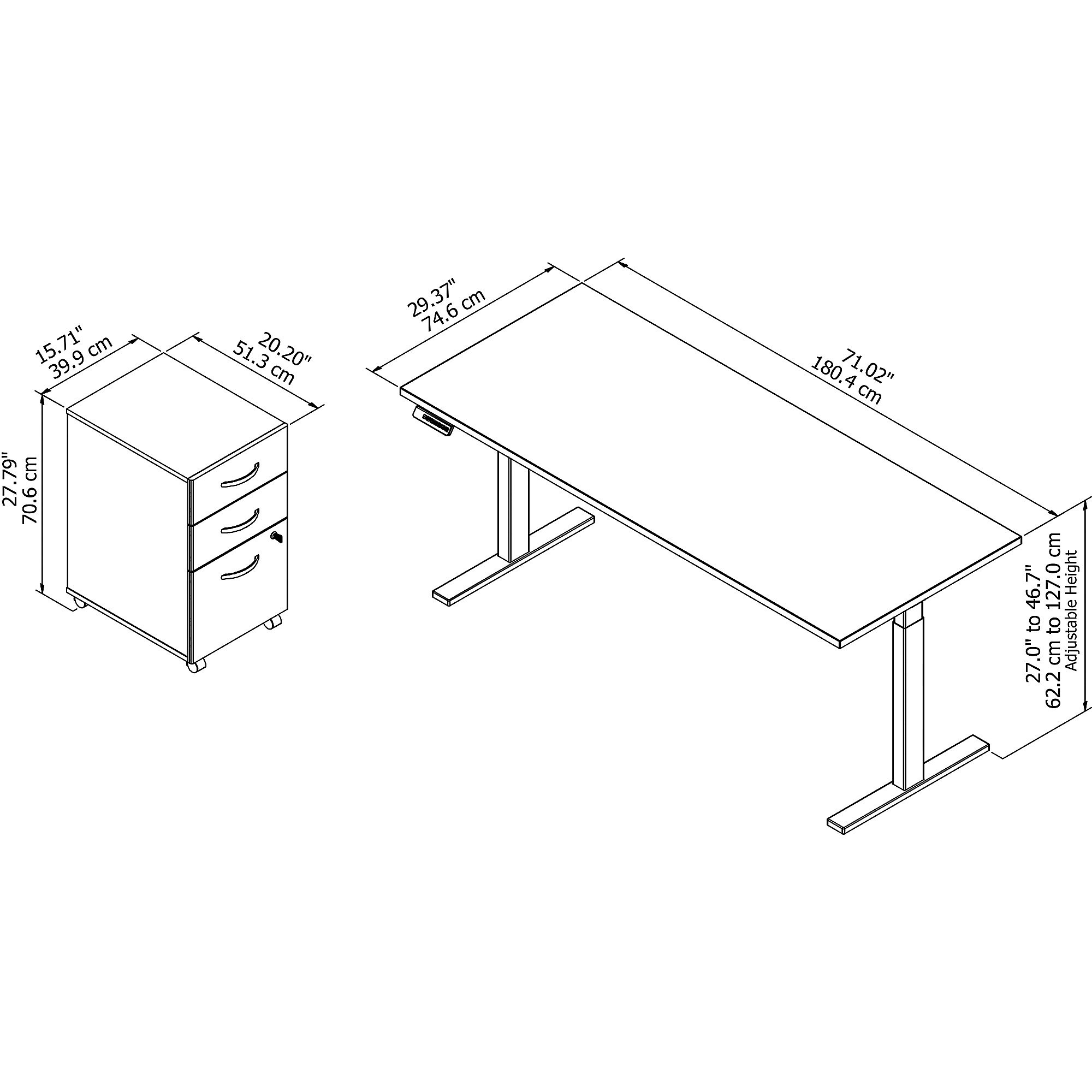 height adjustable desk and file dimensions