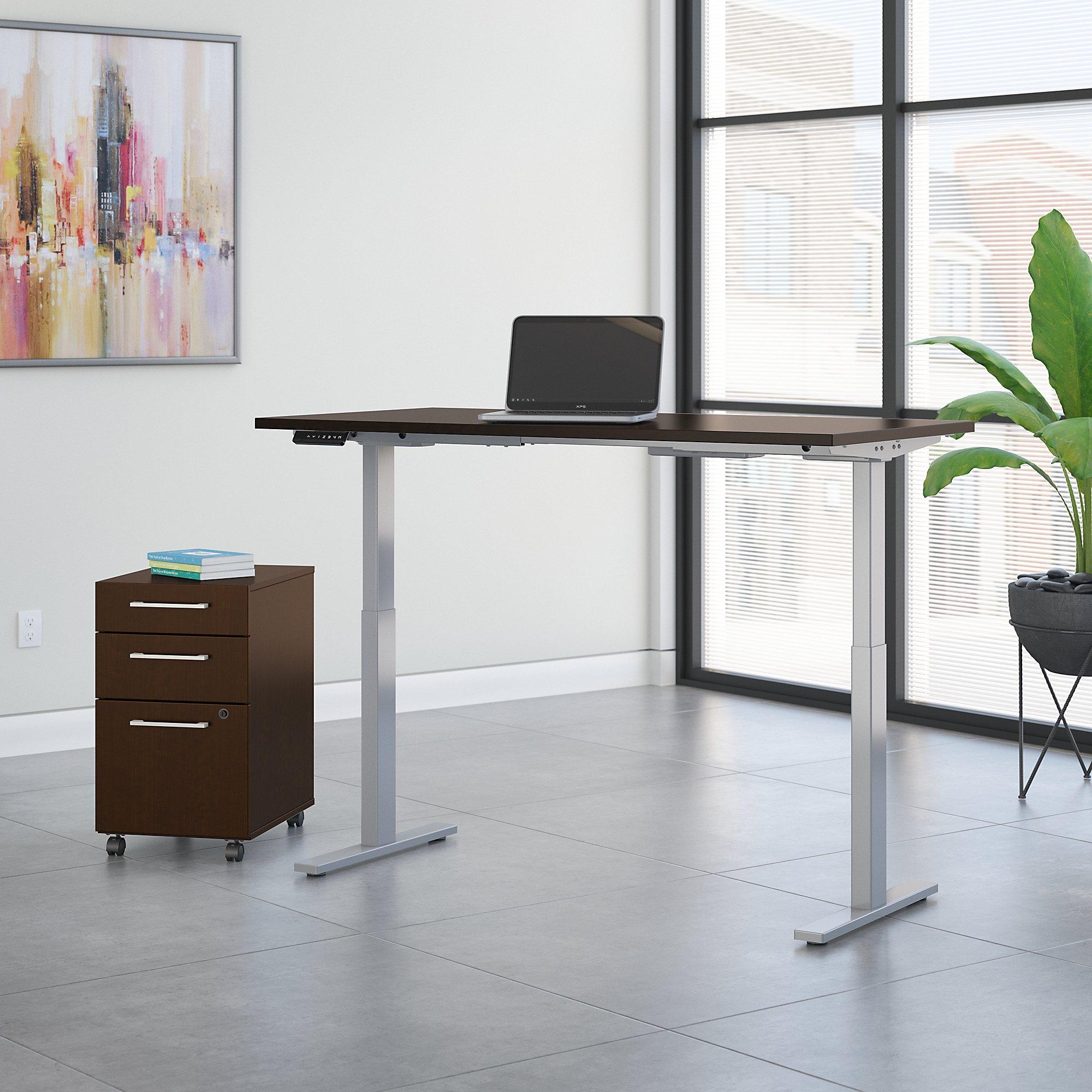 mocha cherry 72x30 ergonomic desk with file