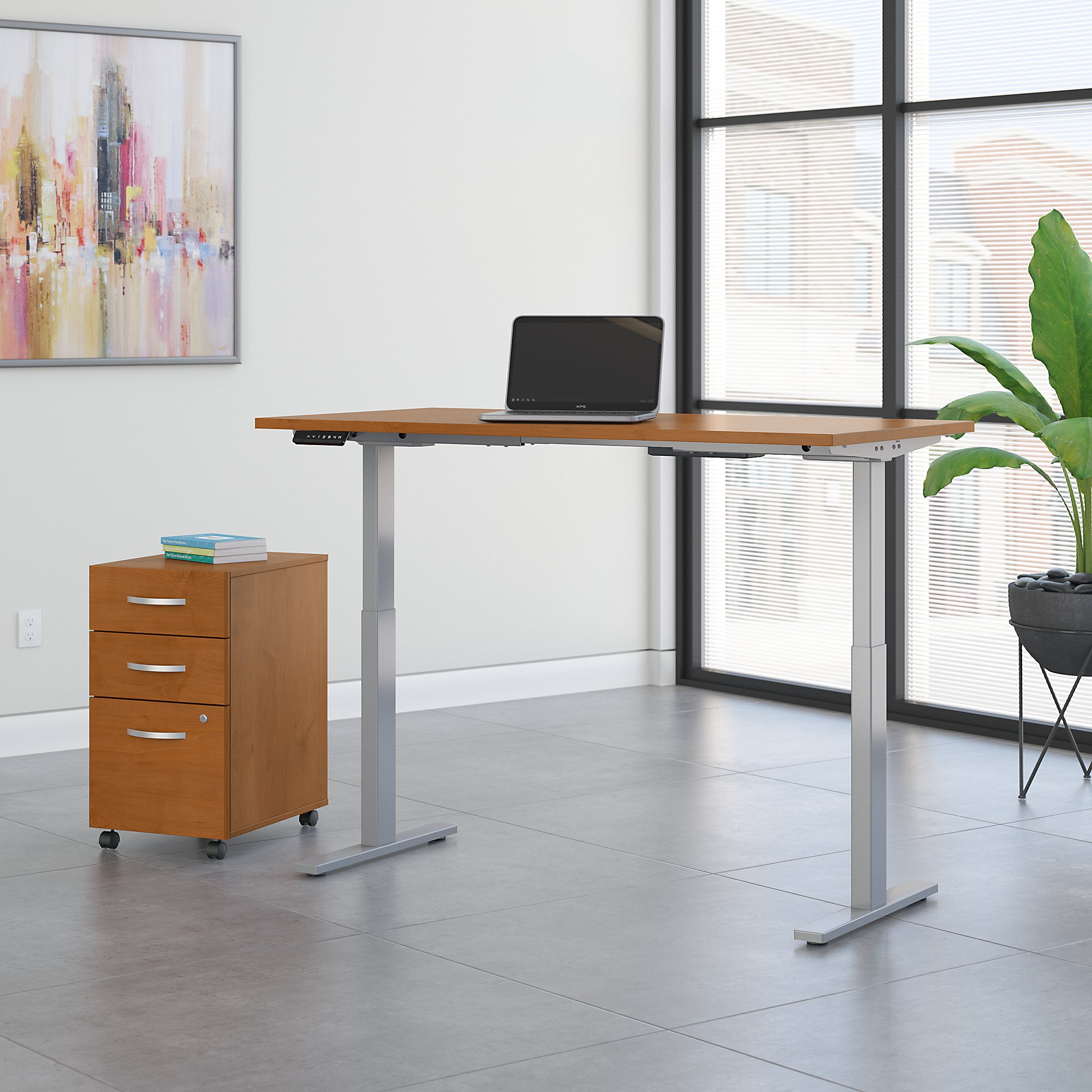 hansen cherry 72x30 ergonomic desk with file