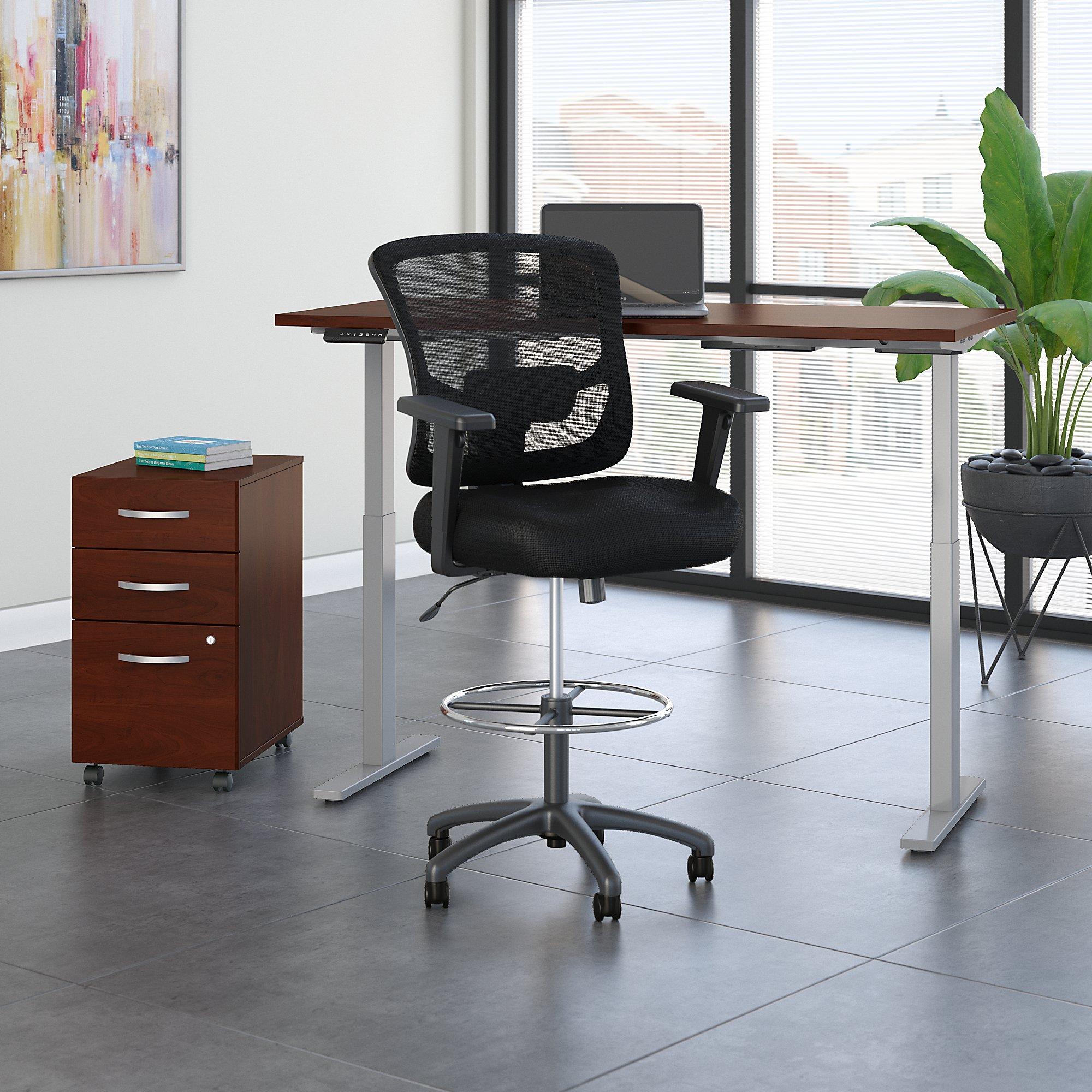 hansen cherry ergonomic desk with drafting chair and storage