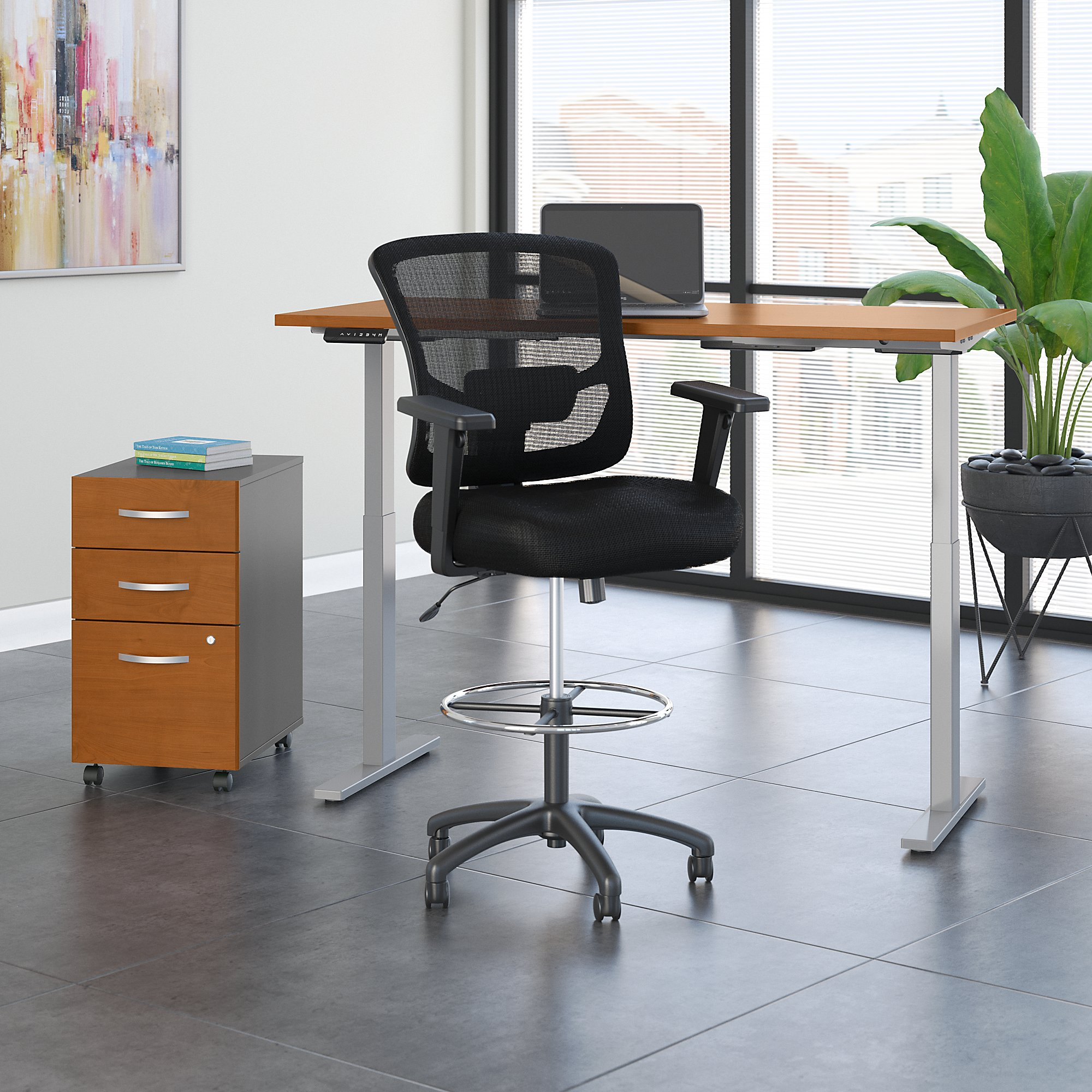 Image of: Move 60 Series By Bush Business Furniture 60w X 30d Height Adjustable Standing Desk With Storage And Drafting Chair