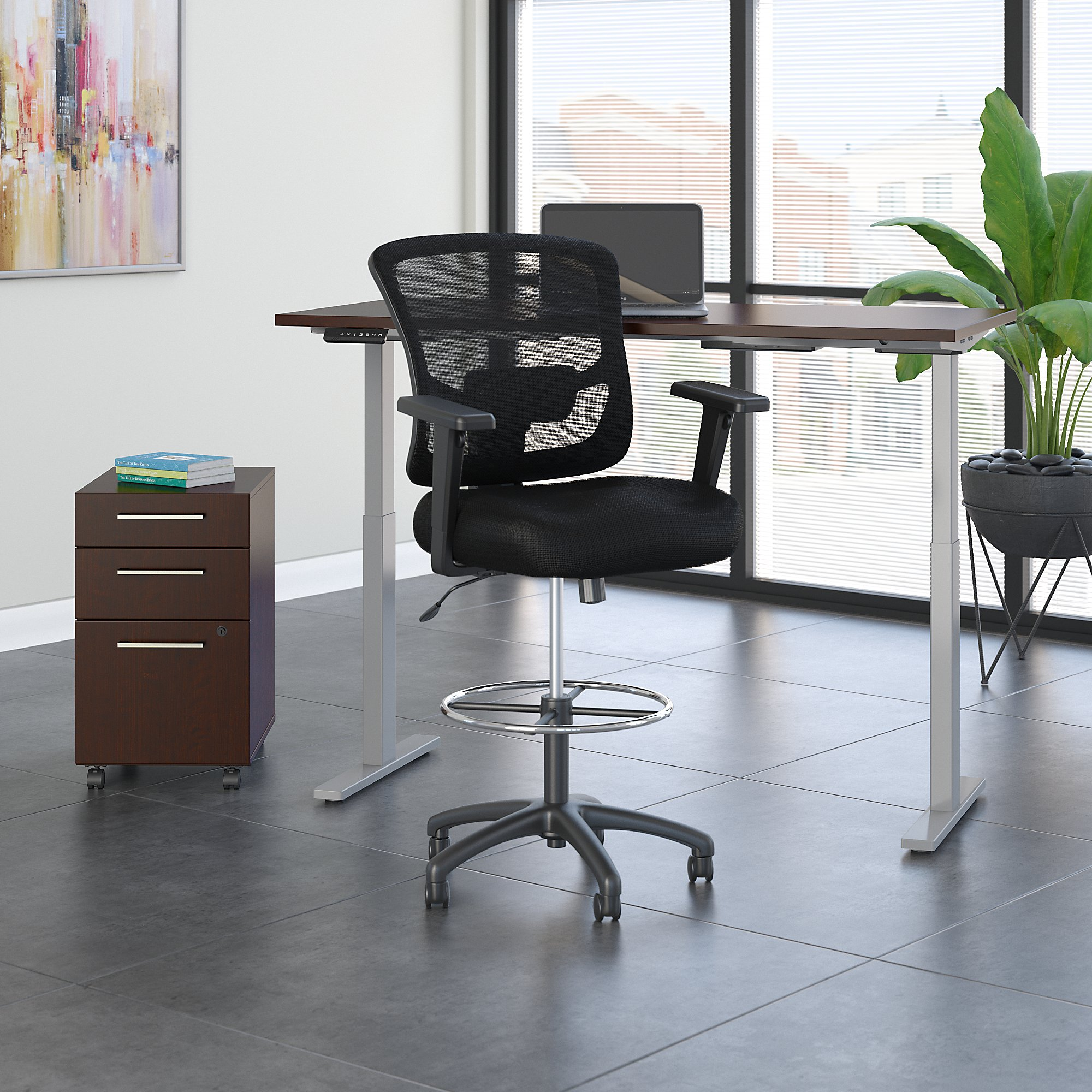 mocha cherry ergonomic desk with drafting chair and storage