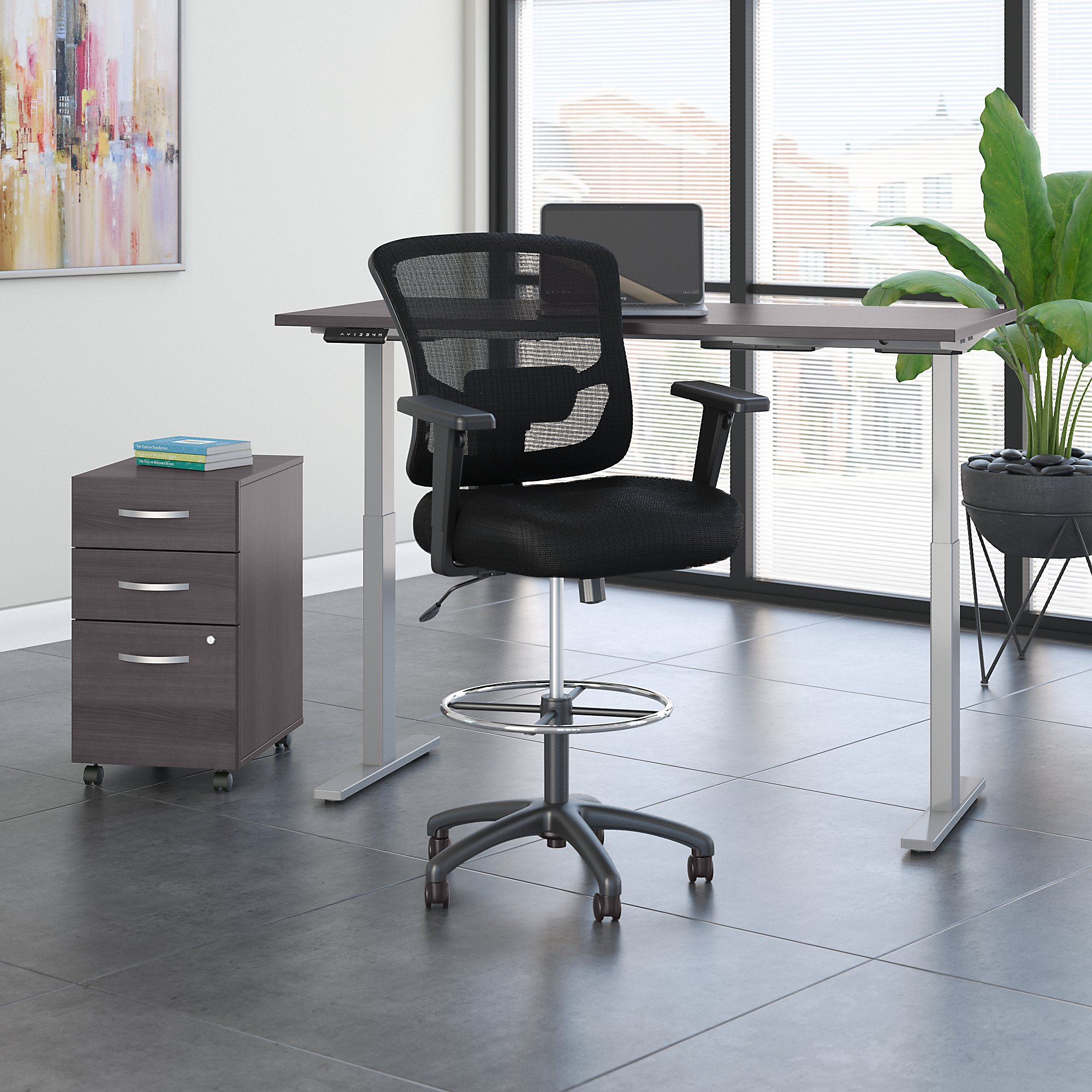 storm gray ergonomic desk with drafting chair and storage