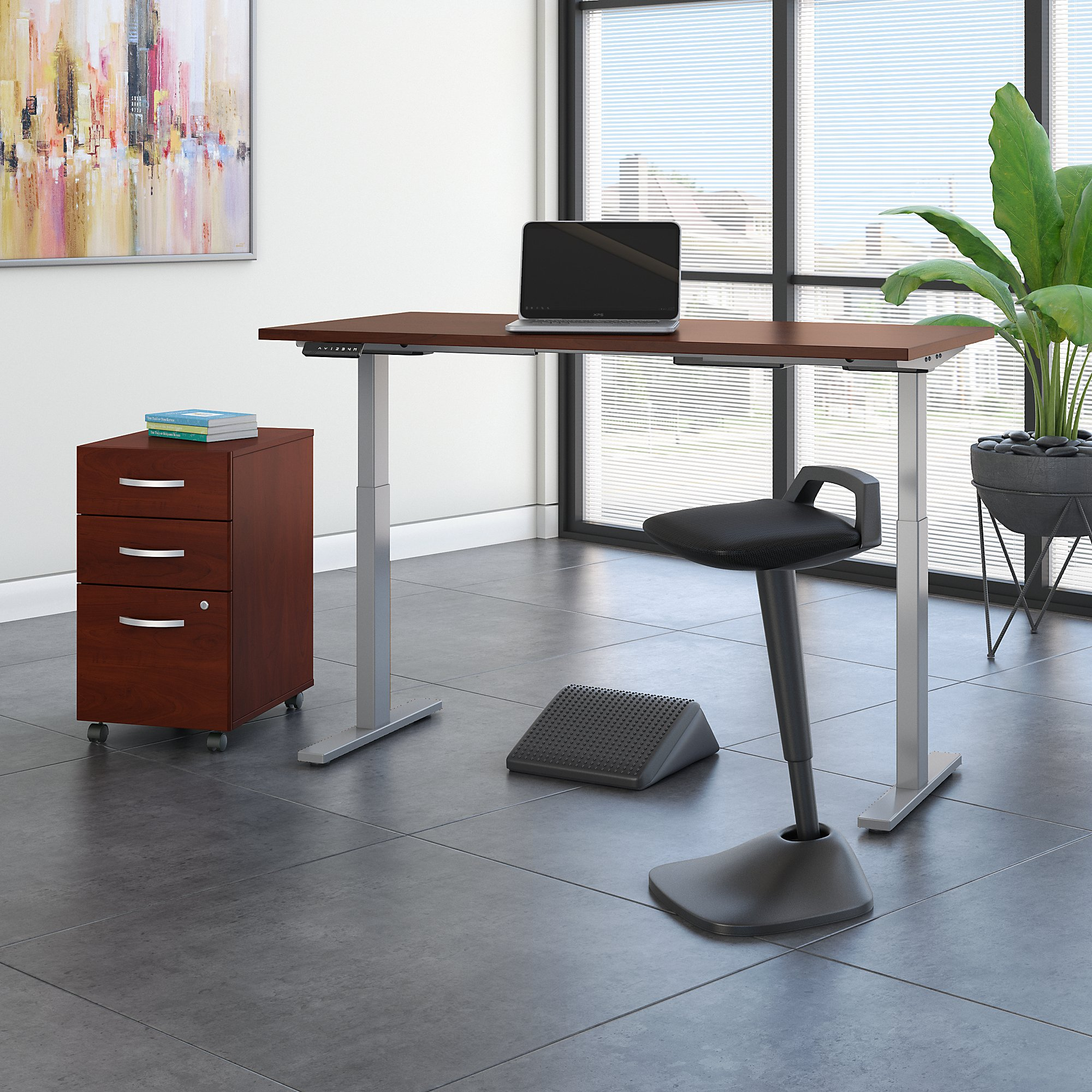 Image of: Move 60 Series By Bush Business Furniture 60w X 30d Adjustable Standing Desk With Lean Stool Storage And Ergonomic Accessories
