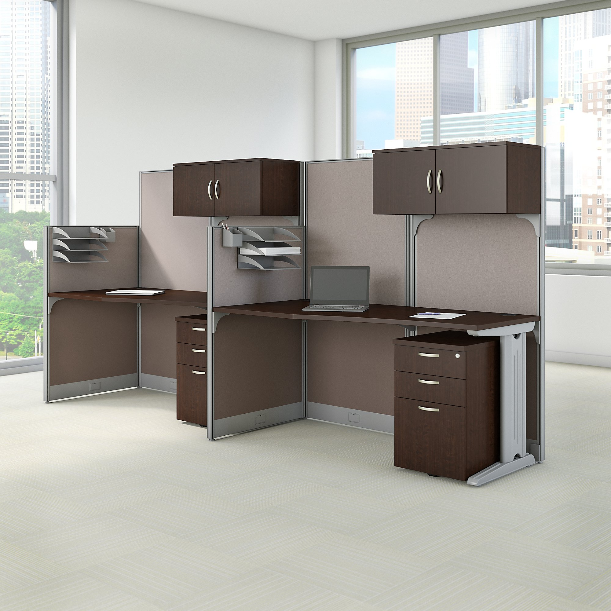 mocha cherry office in an hour 2 person cubicle