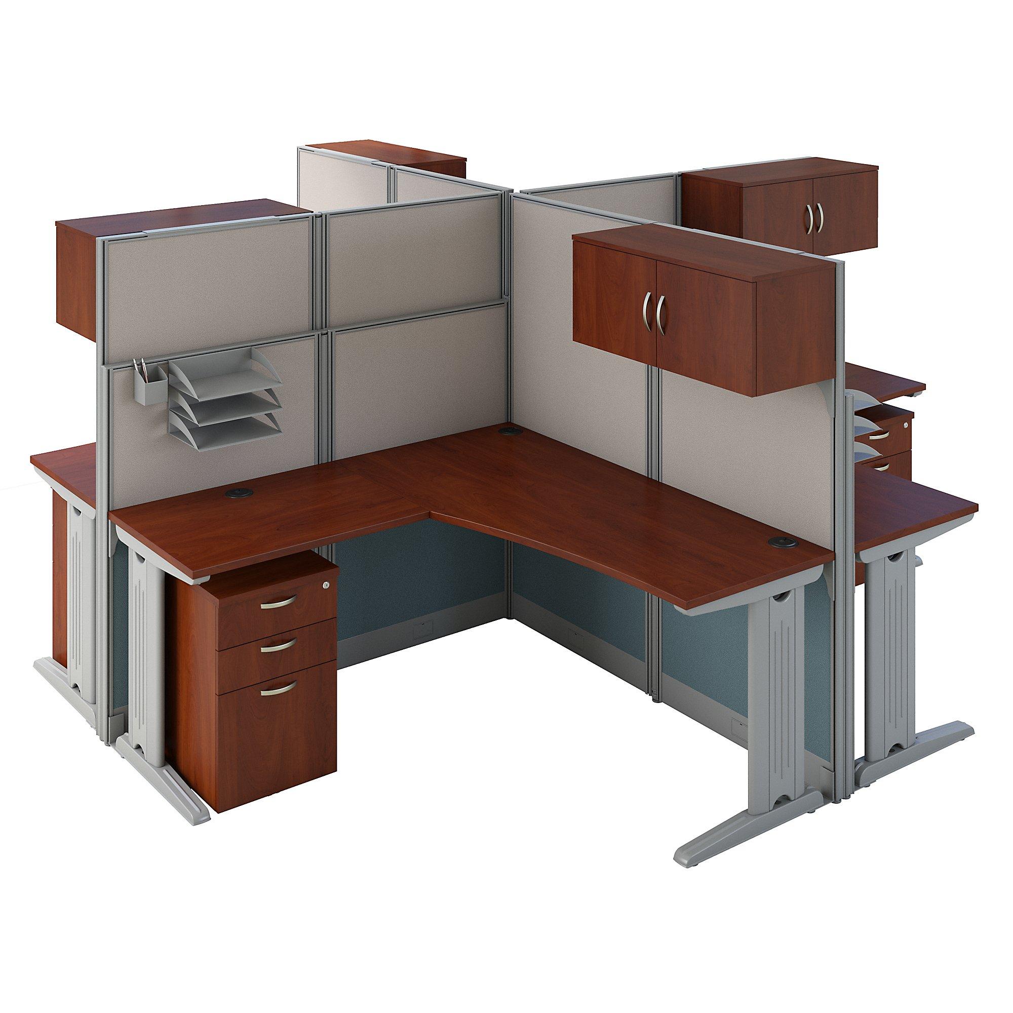 hansen cherry 4 person cluster desk