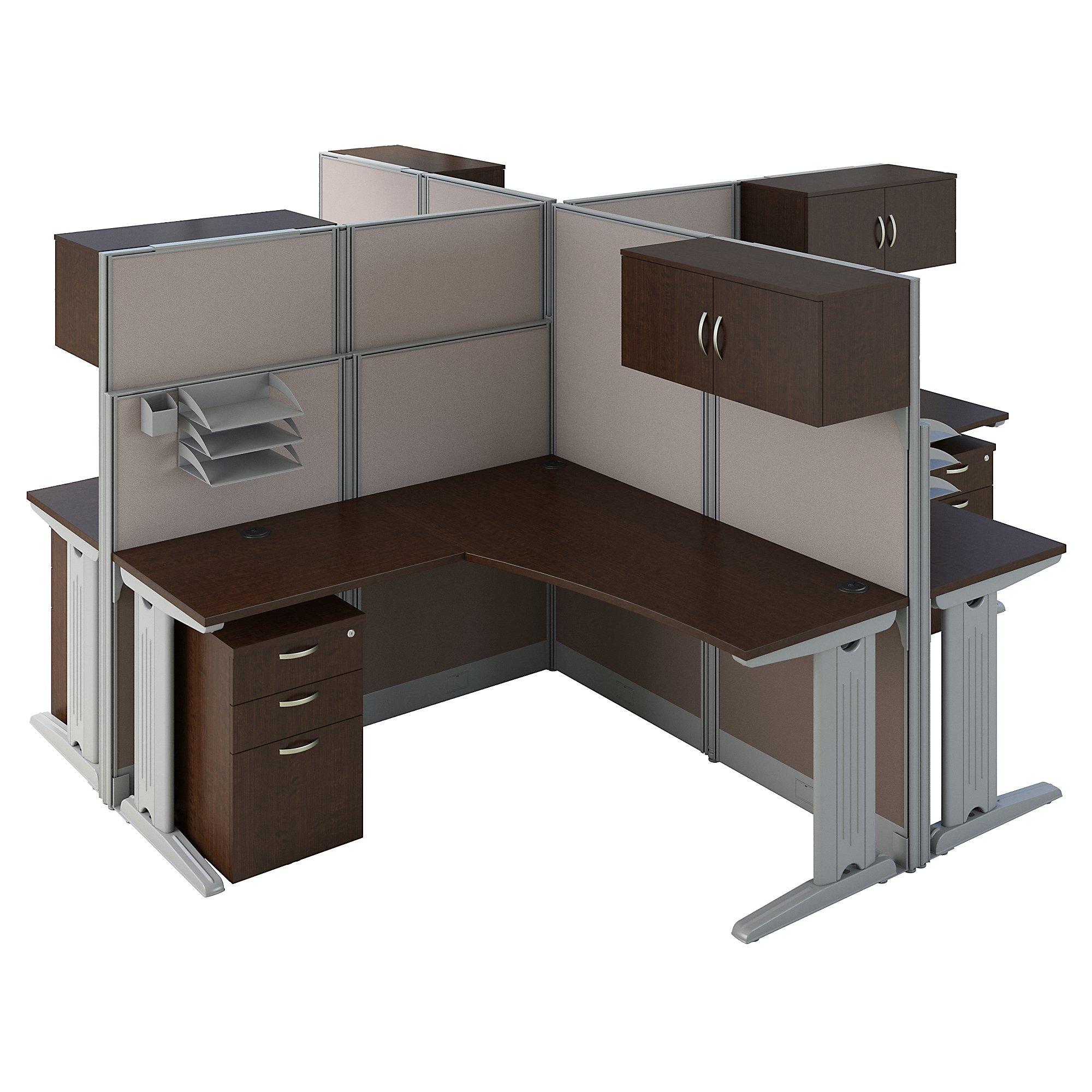 mocha cherry 4 person cluster desk