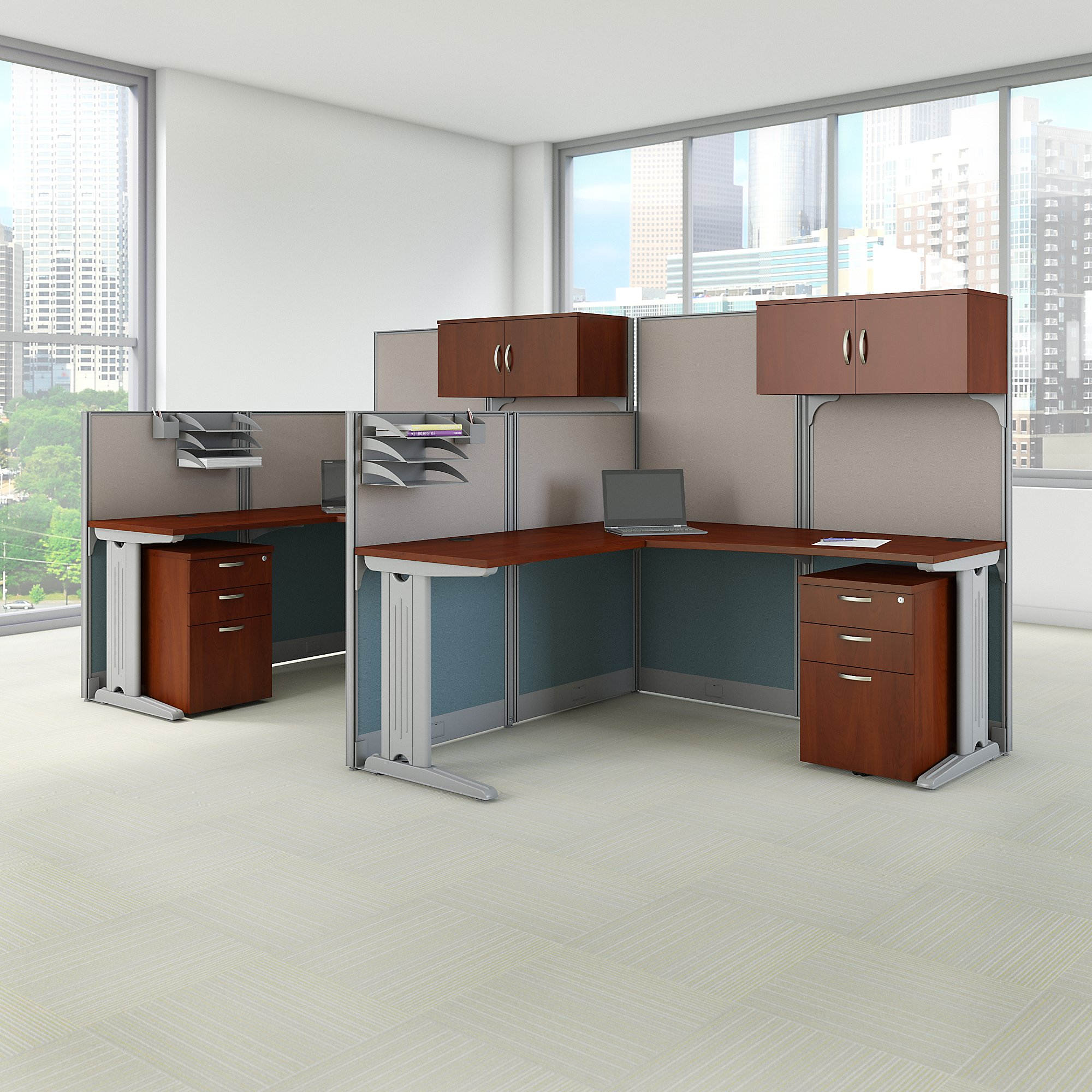 hansen cherry 2 person office in an hour cubicle